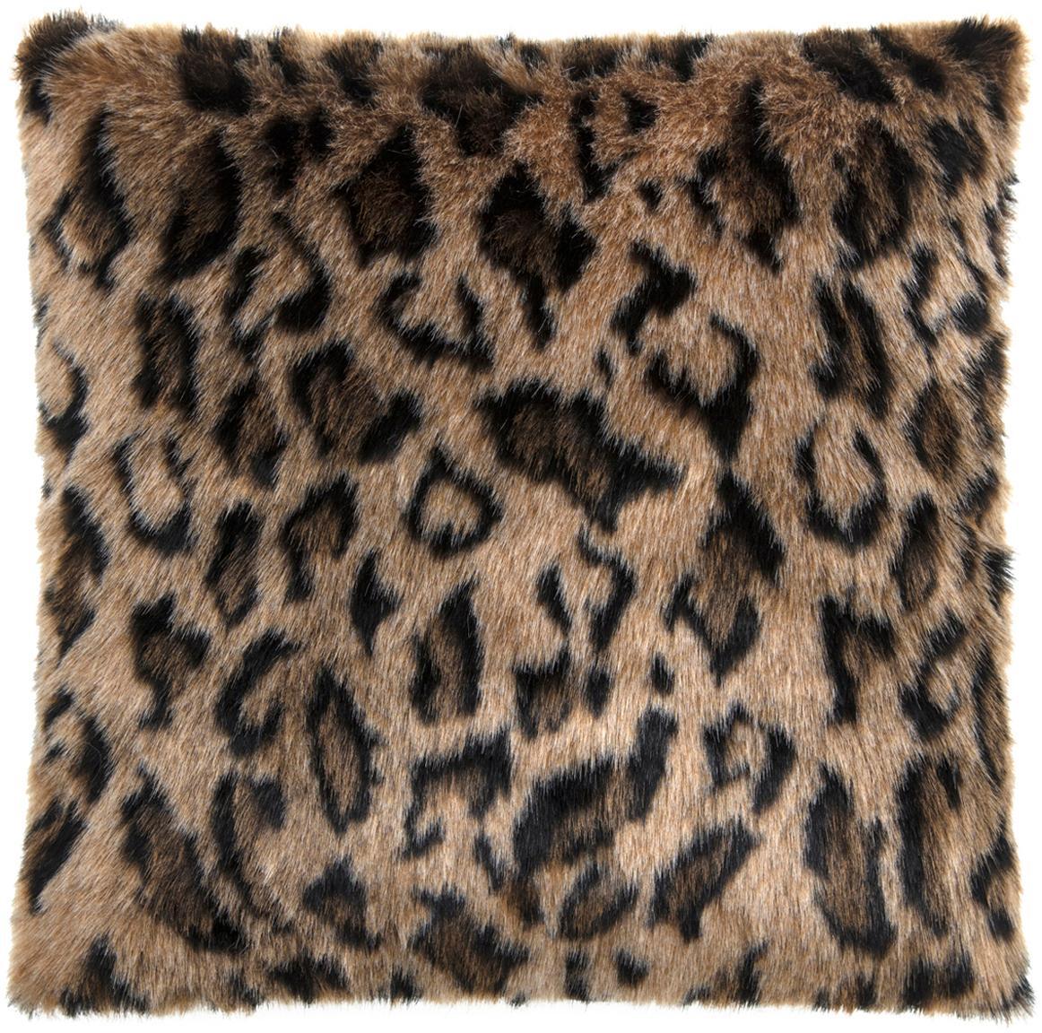 Kunstfell-Kissenhülle Lee mit Leopardenmuster, Vorderseite: 60% Polyacryl, 40% Polyes, Rückseite: Polyestersamt, Braun, Schwarz, 40 x 40 cm