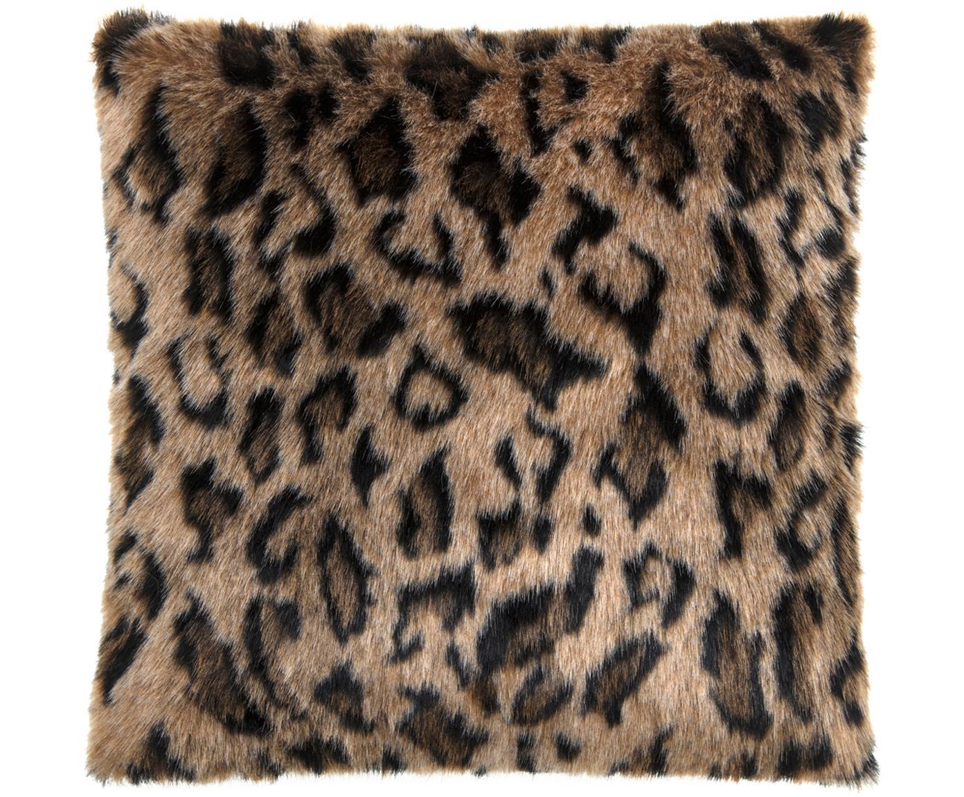 Funda de cojín de piel de leopardo sintética Leo, Parte delantera: 60%poliacrílico, 40%pol, Parte trasera: terciopelo de poliéster, Marrón, negro, An 40 x L 40 cm