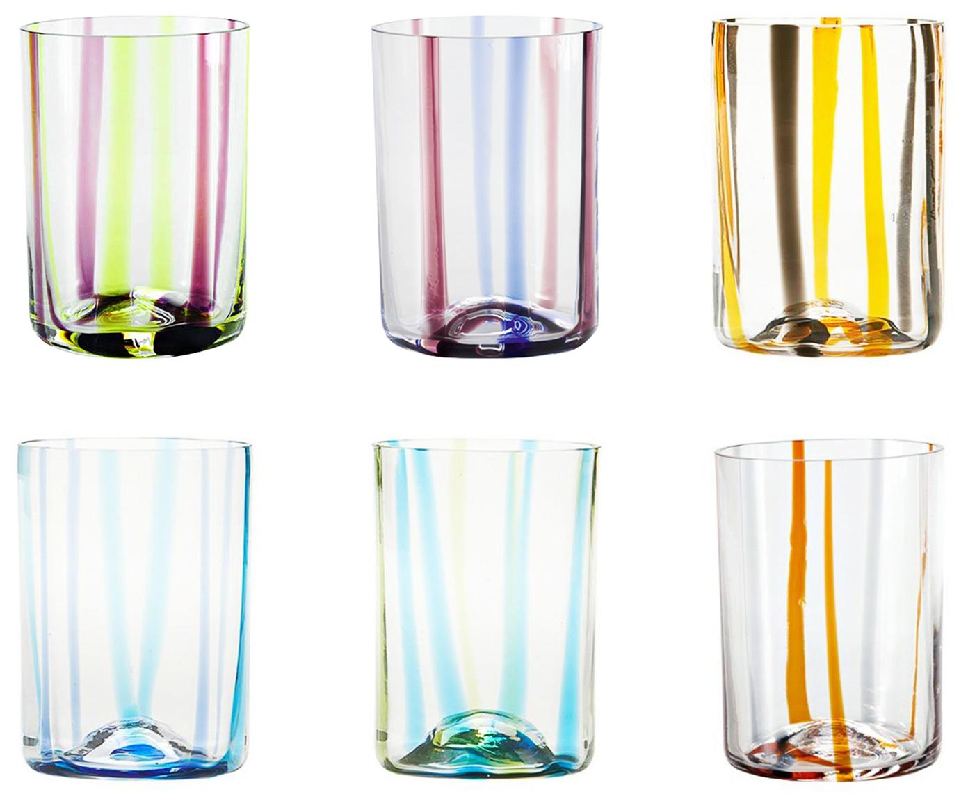 Mondgeblazen waterglazenset Tirache met kleurrijke strepen, 6-delig, Glas, Multicolour, Ø 7 x H 10 cm