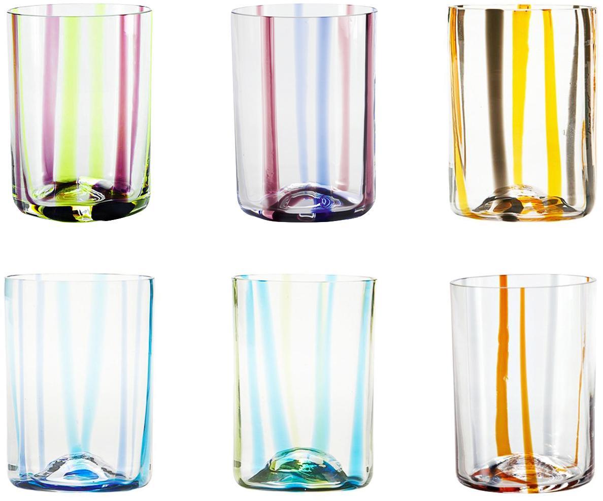 Vasos de vidrio soplado Tirache, 6uds., Vidrio, Multicolor, Ø 7 x Al 10 cm