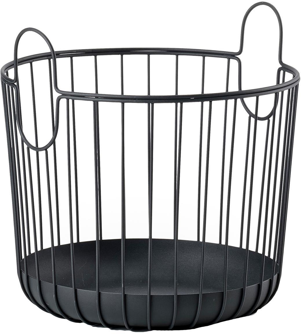 Aufbewahrungskorb Ina, Metall, Schwarz, Ø 30 x H 31 cm