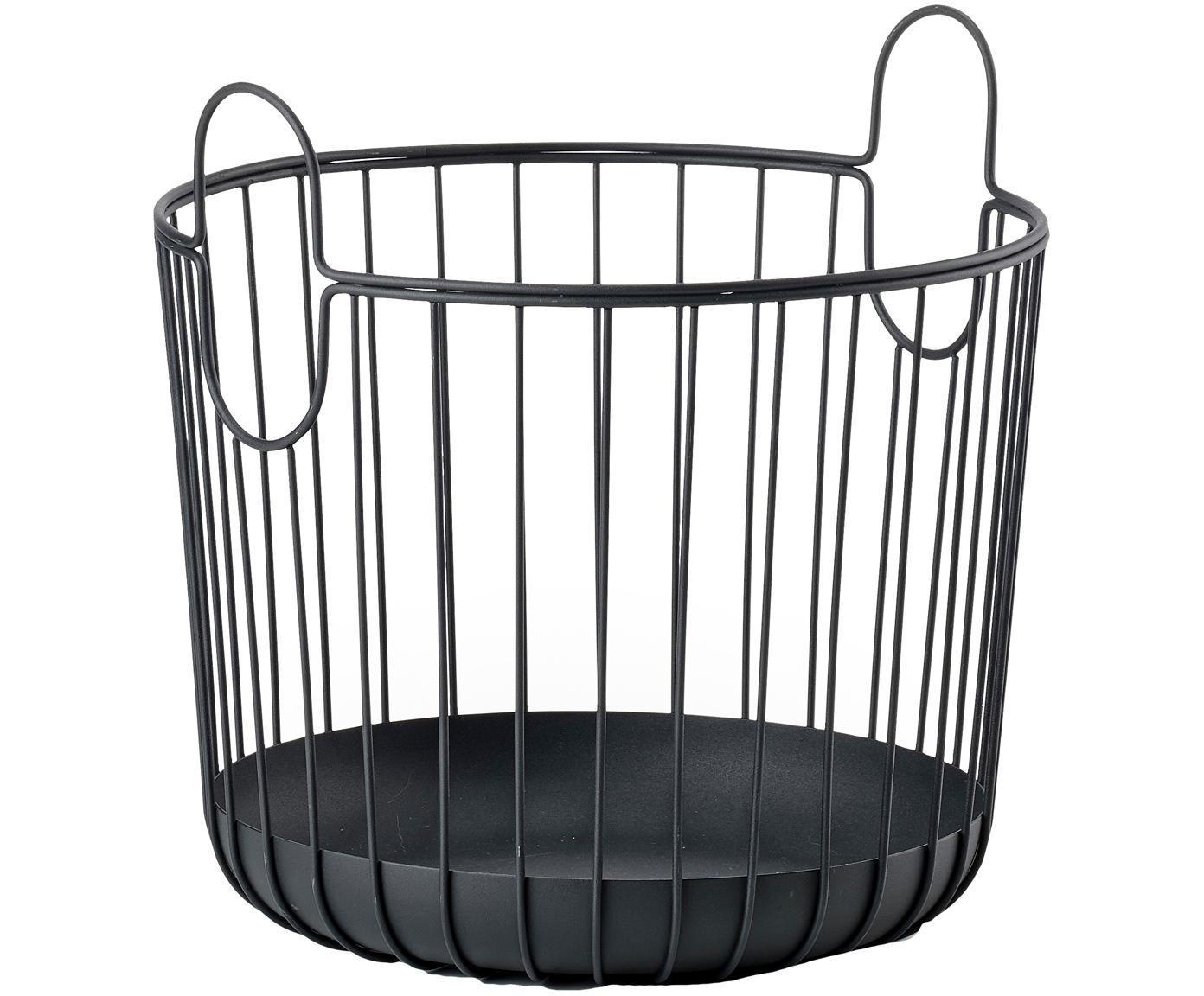 Cesta Ina, Metal, Negro, Ø 30 x Al 31 cm