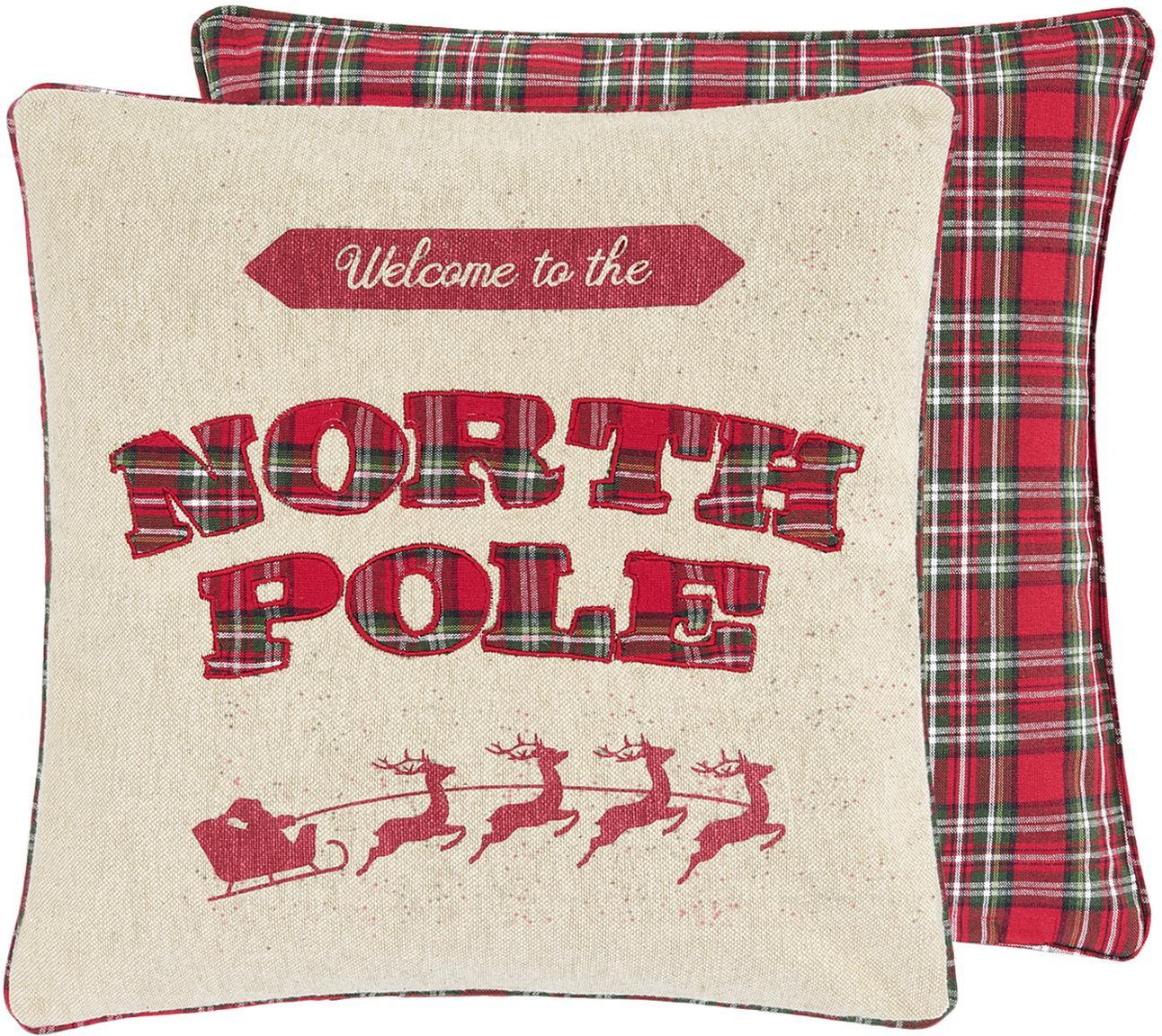 Funda de cojín North Pole, caras distintas, 100%algodón, Beige, rojo, verde oscuro, An 45 x L 45 cm
