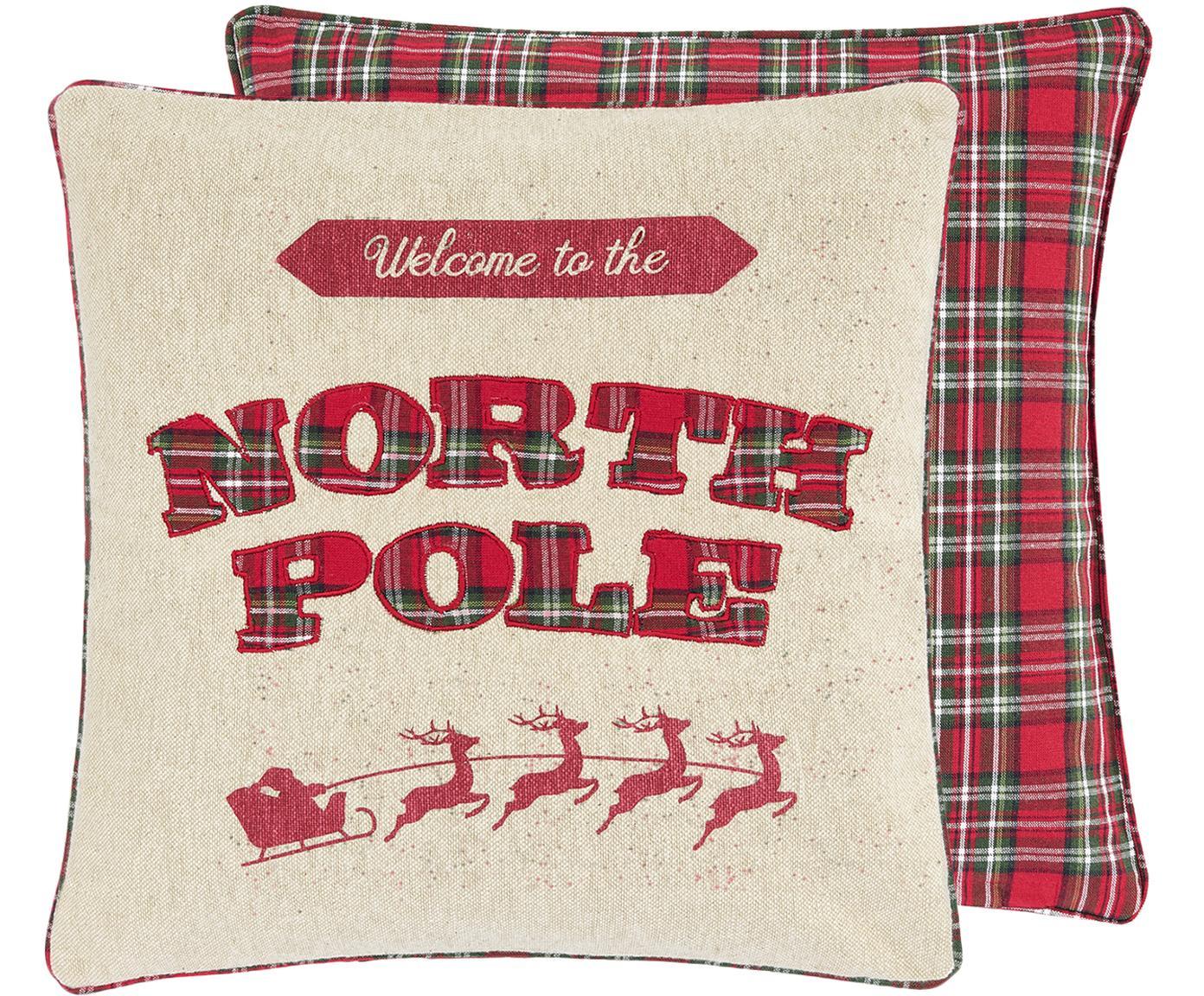 Kussenhoes North Pole, 100% katoen, Voorzijde: beige, rood, donkergroen. Achterzijde: rood, donkergroen geruit, 45 x 45 cm
