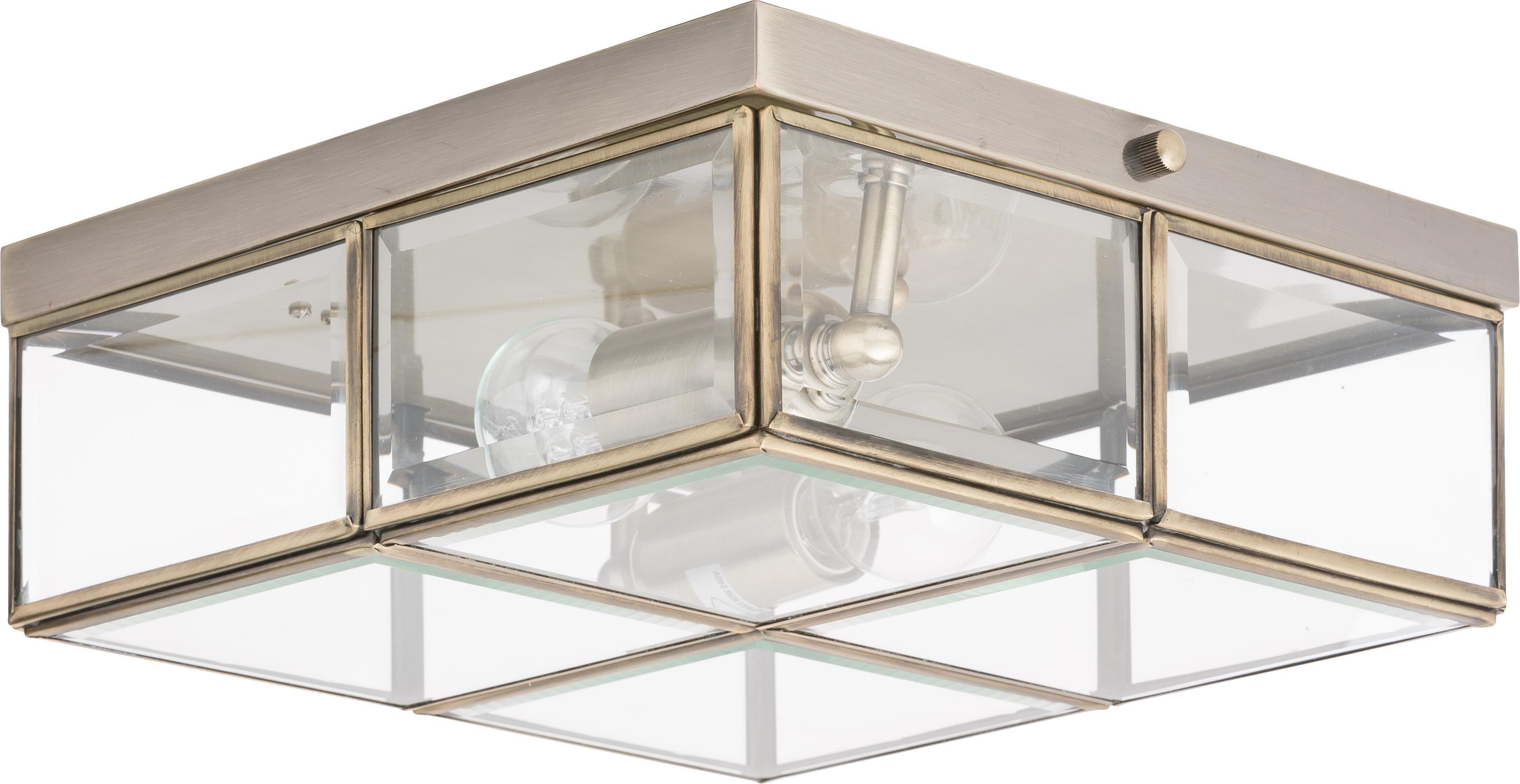 Moderne plafondlamp Ben, Messingkleurig, transparant, 26 x 10 cm