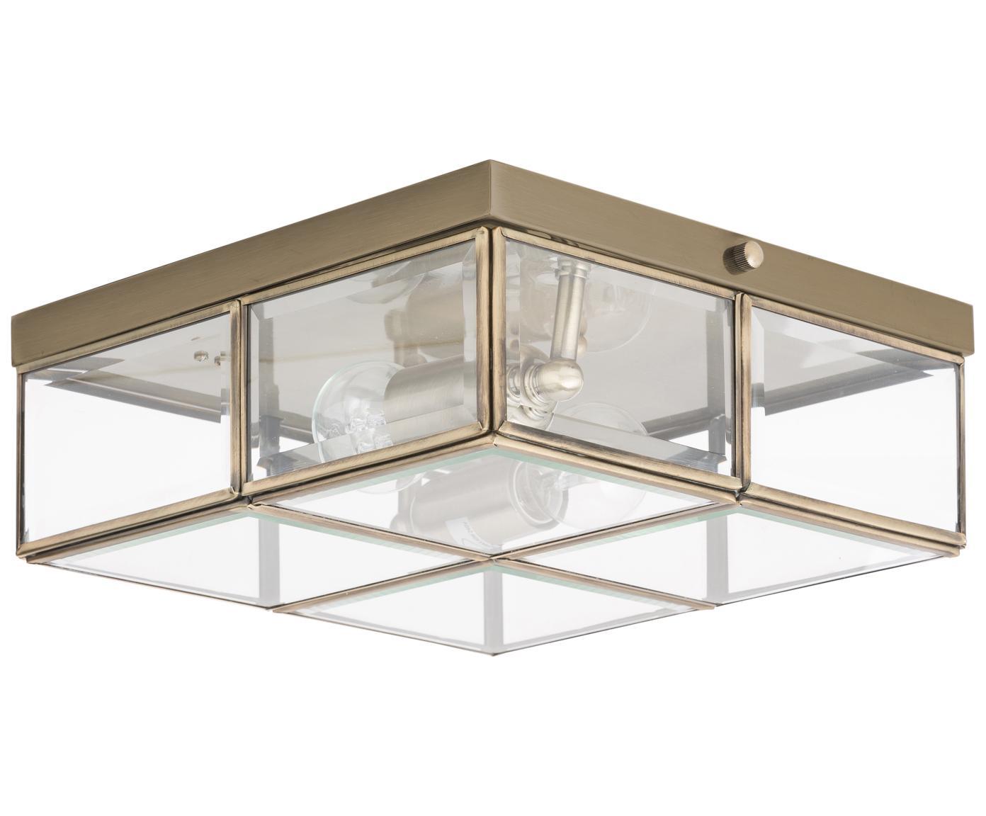 Plafón Ben, estilo moderno, Latón, transparente, An 26 x Al 10 cm