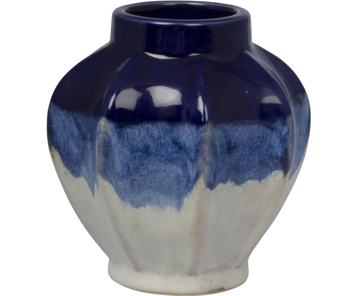 Wazon dekoracyjny z kamionki Bora, Kamionka, Odcienie niebieskiego, złamana biel, Ø 11 x W 12 cm