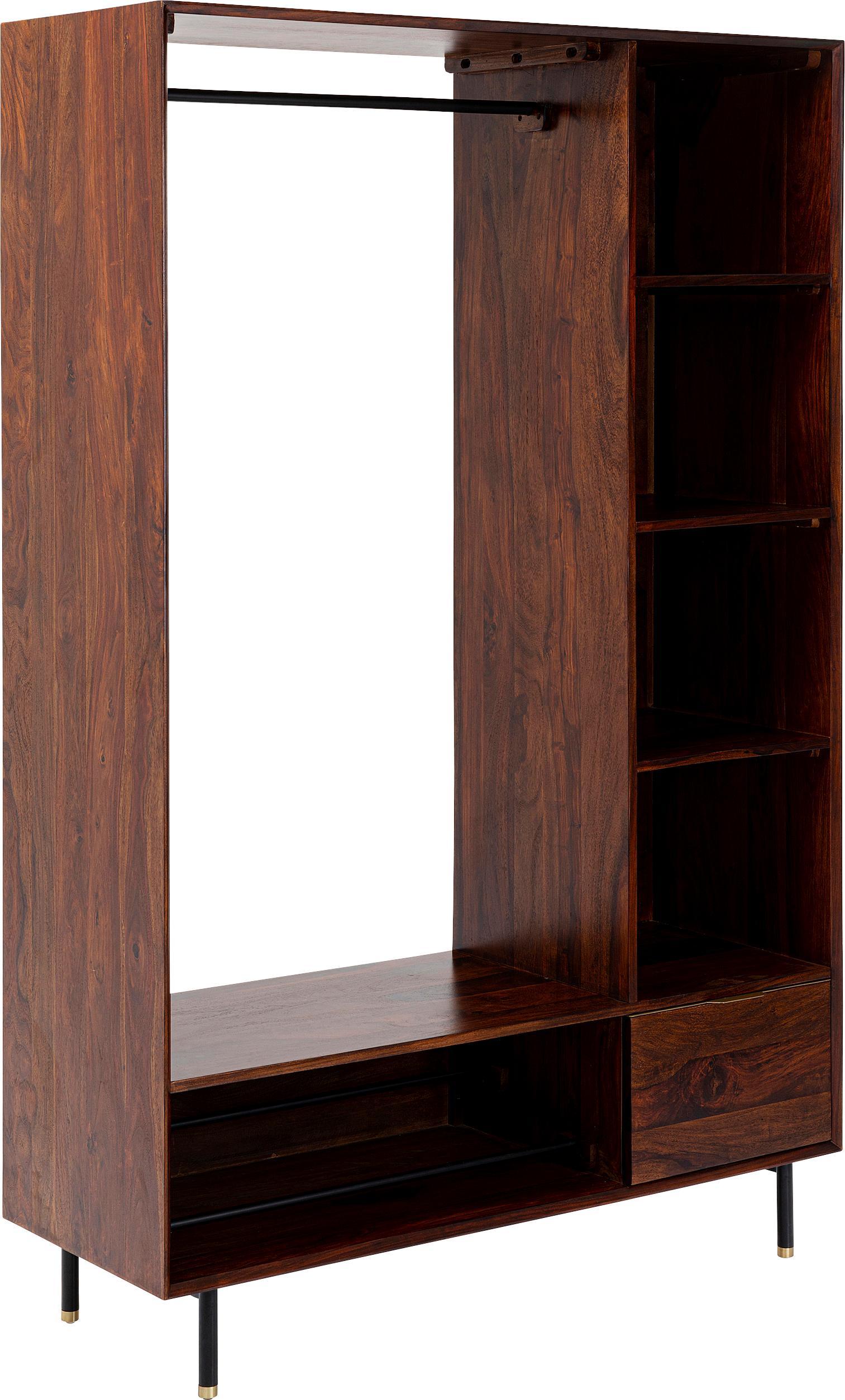 Armadio a giorno in legno massivo Ravello, Piedini: metallo verniciato, Marrone, Larg. 120 x Alt. 185 cm