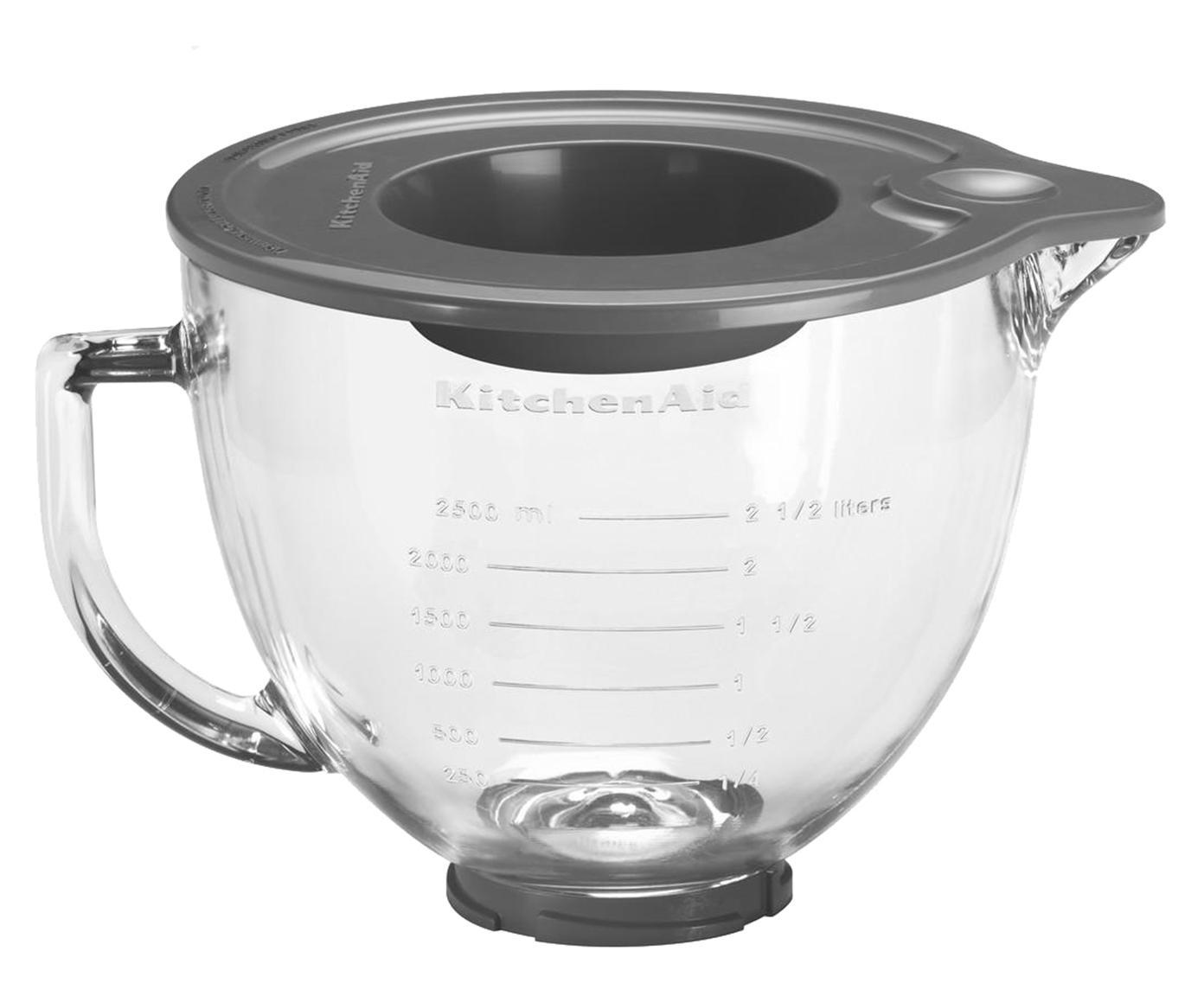 Ciotola in vetro per robot da cucina Artisan, Coppia tovagliette con un aspetto leggermente ruvido, Trasparente, 4,8 litri