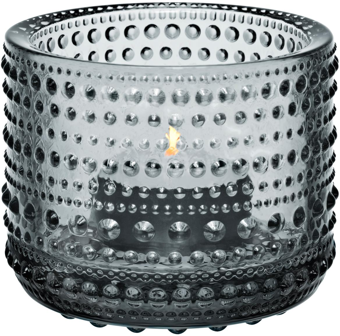 Waxinelichthouder Kastehelmi, Glas, Grijs, Ø 6 cm