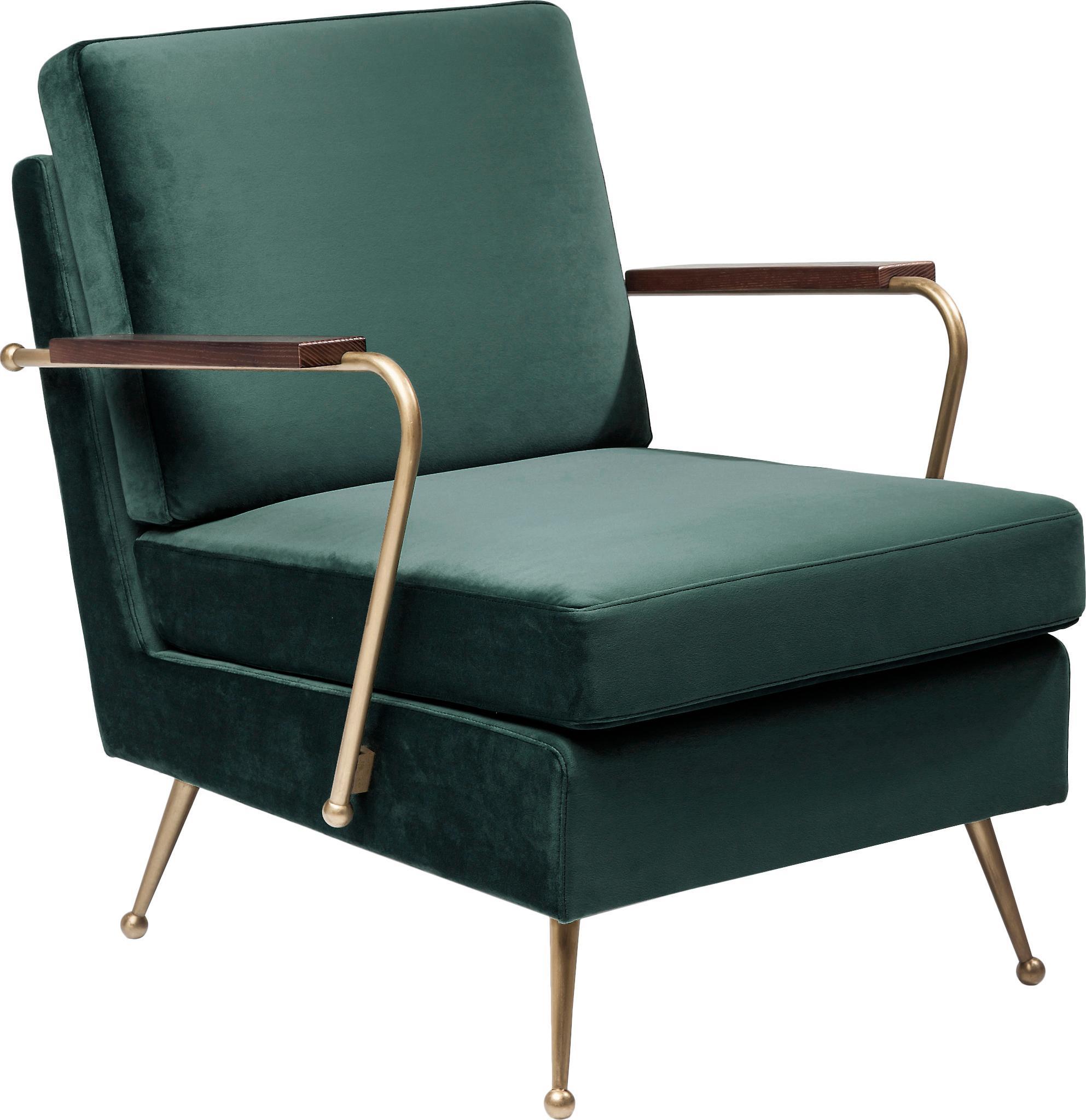 Retro fluwelen fauteuil Gamble in groen, Bekleding: 100% polyester (fluweel), Frame: onbehandeld grenenhout, Groen, B 68 x D 75 cm