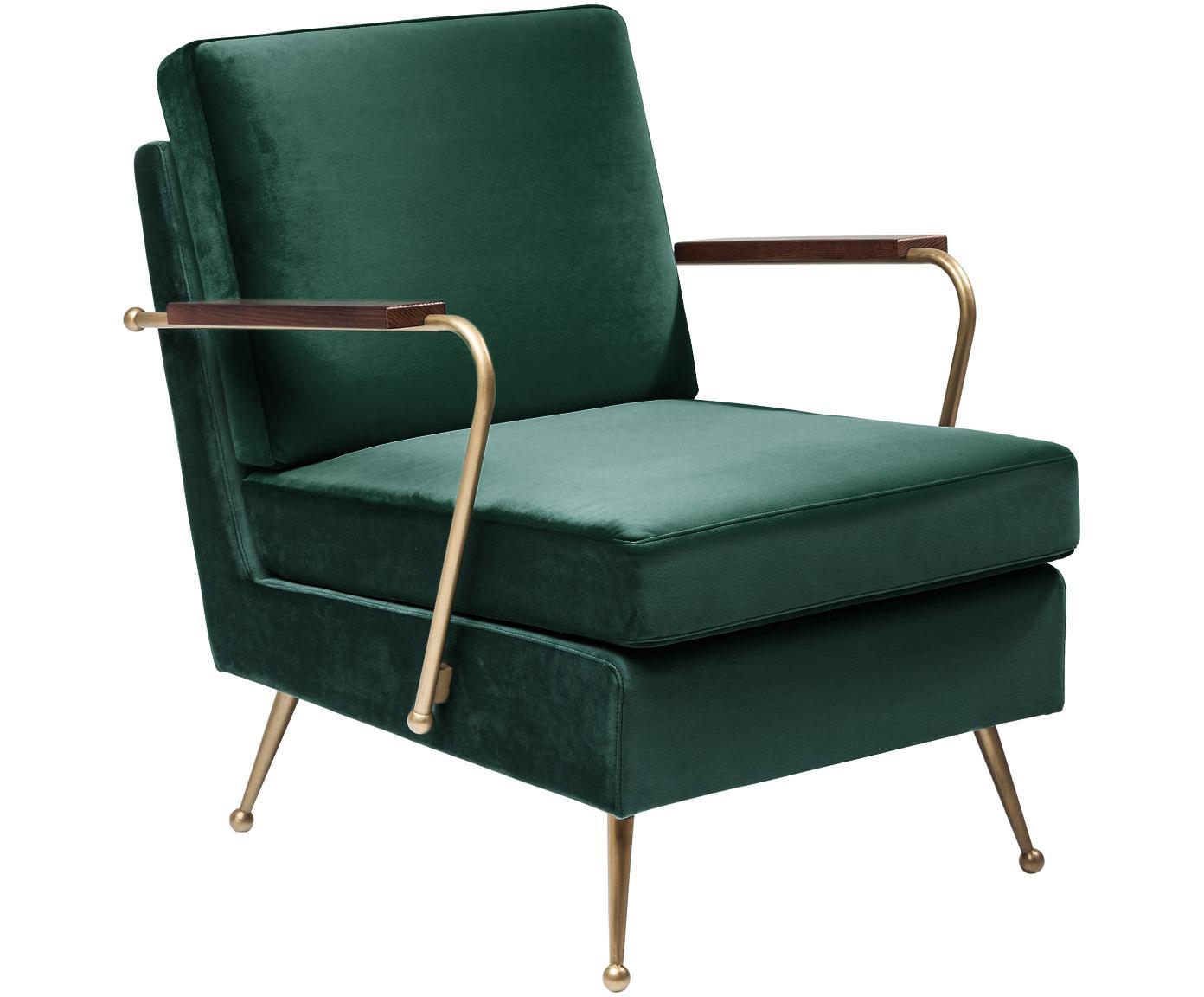 Fotel z aksamitu Gamble, Tapicerka: aksamit poliestrowy Tkani, Korpus: drewno sosnowe, surowe, Zielony, S 68 x G 75 cm