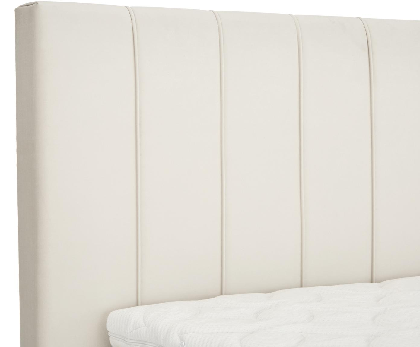 Premium fluwelen boxspring bed Lacey, Matras: 7-zones-pocketveringkern , Poten: massief gelakt beukenhout, Beige, 140 x 200 cm