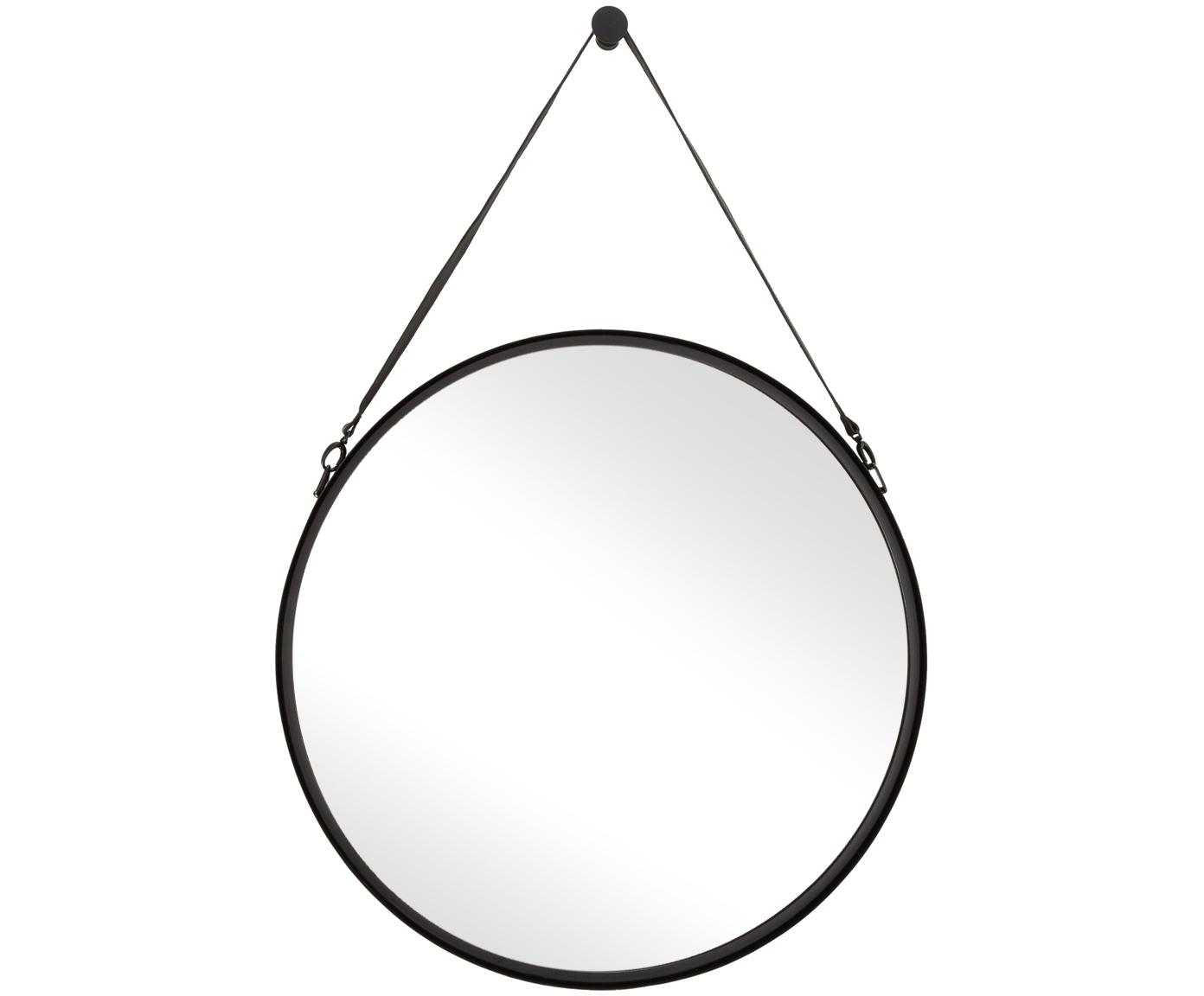 Runder Wandspiegel Liz mit schwarzer Lederschlaufe, Spiegelfläche: Spiegelglas, Rückseite: Mitteldichte Holzfaserpla, Schwarz, Ø 80 cm