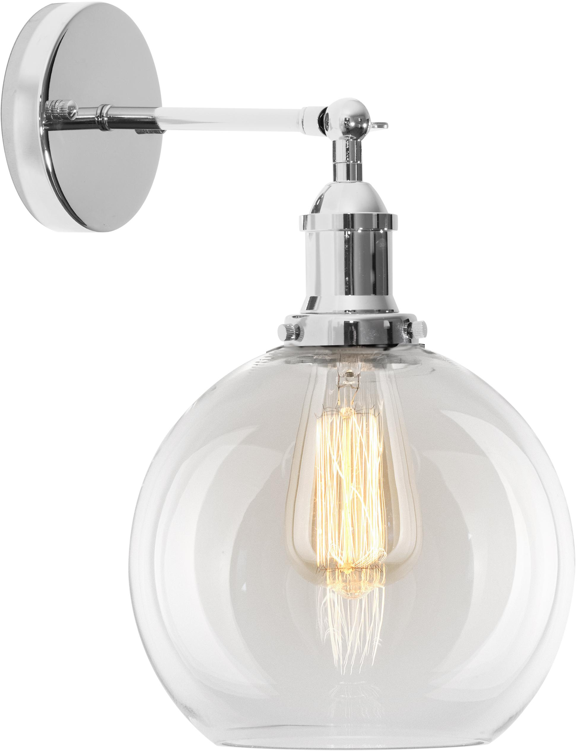 Lampada da parete New York Loft No.2, Paralume: vetro, Cromo, grigio chiaro, Larg. 20 x Alt. 30 cm