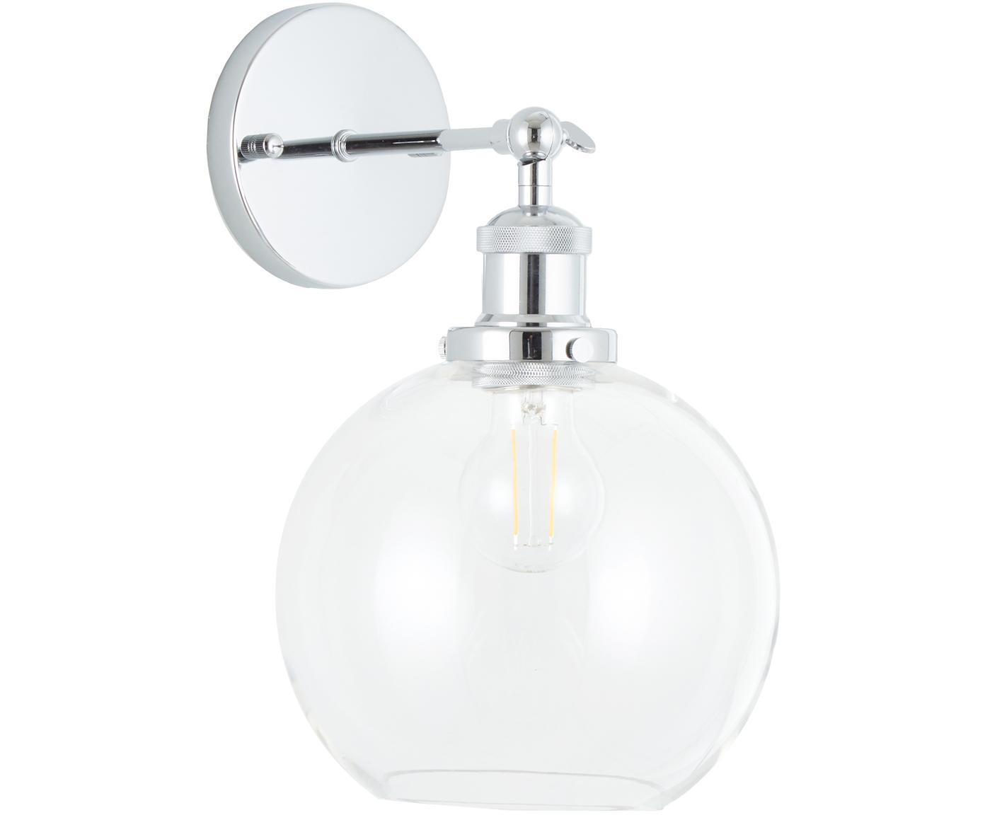 Wandlamp New York Loft No.2, Lampenkap: glas, Chroomkleurig, transparant, 20 x 30 cm