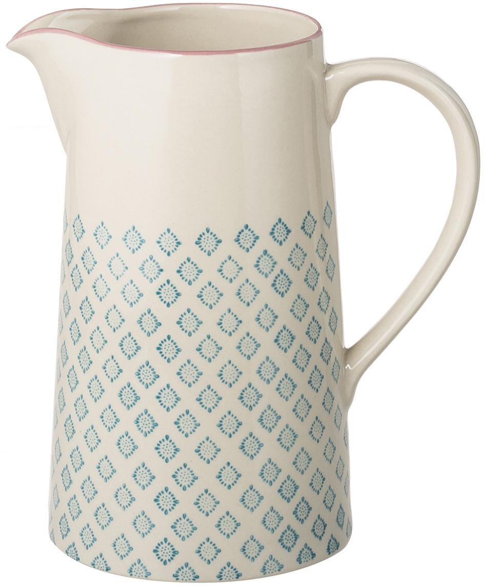 Handbemalter Wasserkrug Patrizia mit kleinem Muster, Steingut, Petrol, Creme, Violett, 2 L