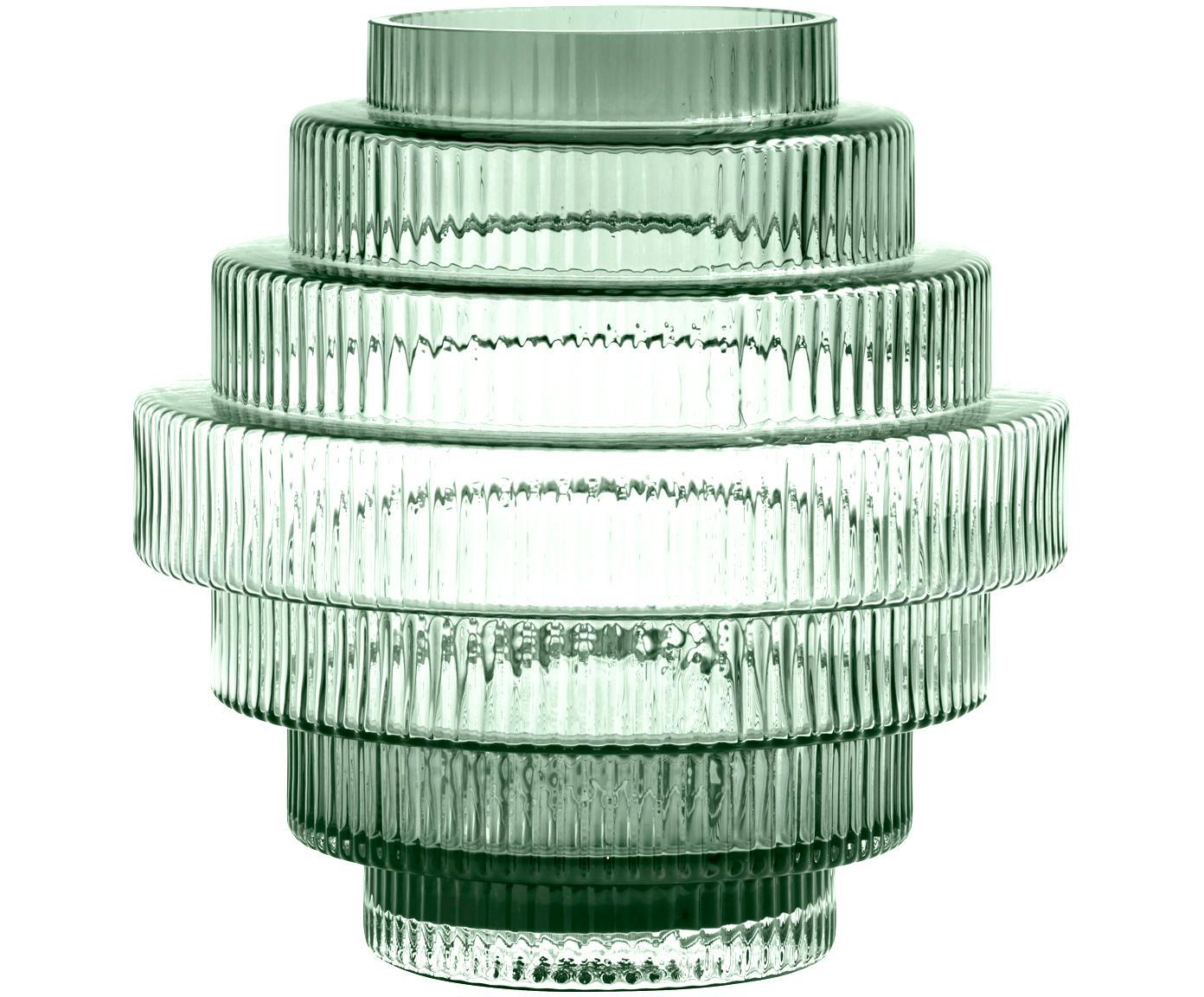Glas-Vase Rilla, Glas, Grün, Ø 22 x H 24 cm