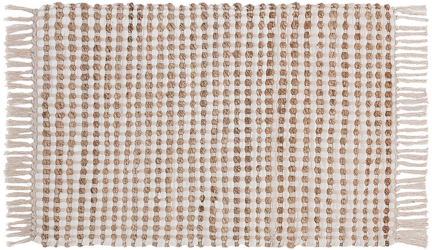Alfombra de algodón/yute Fiesta, 55%algodón, 45%yute, Blanco, beige, An 60 x L 90 cm (Tamaño XXS)