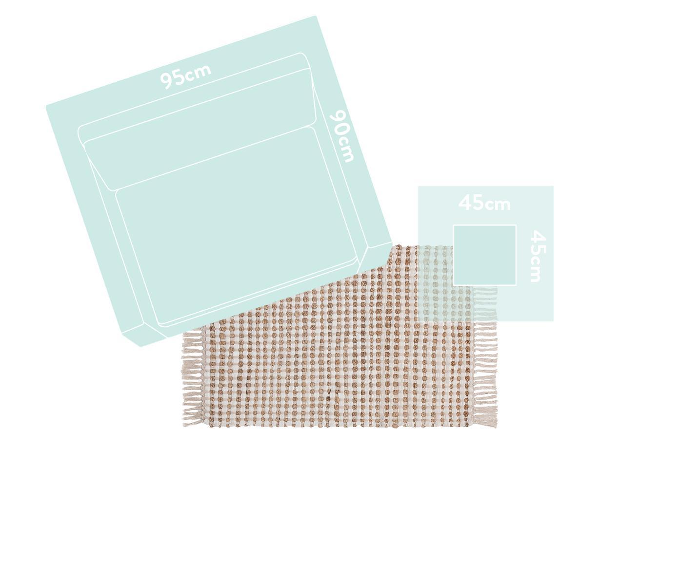 Teppich Fiesta aus Baumwolle/Jute, 55% Baumwolle, 45% Jute, Weiß, Beige, B 60 x L 90 cm (Größe XXS)