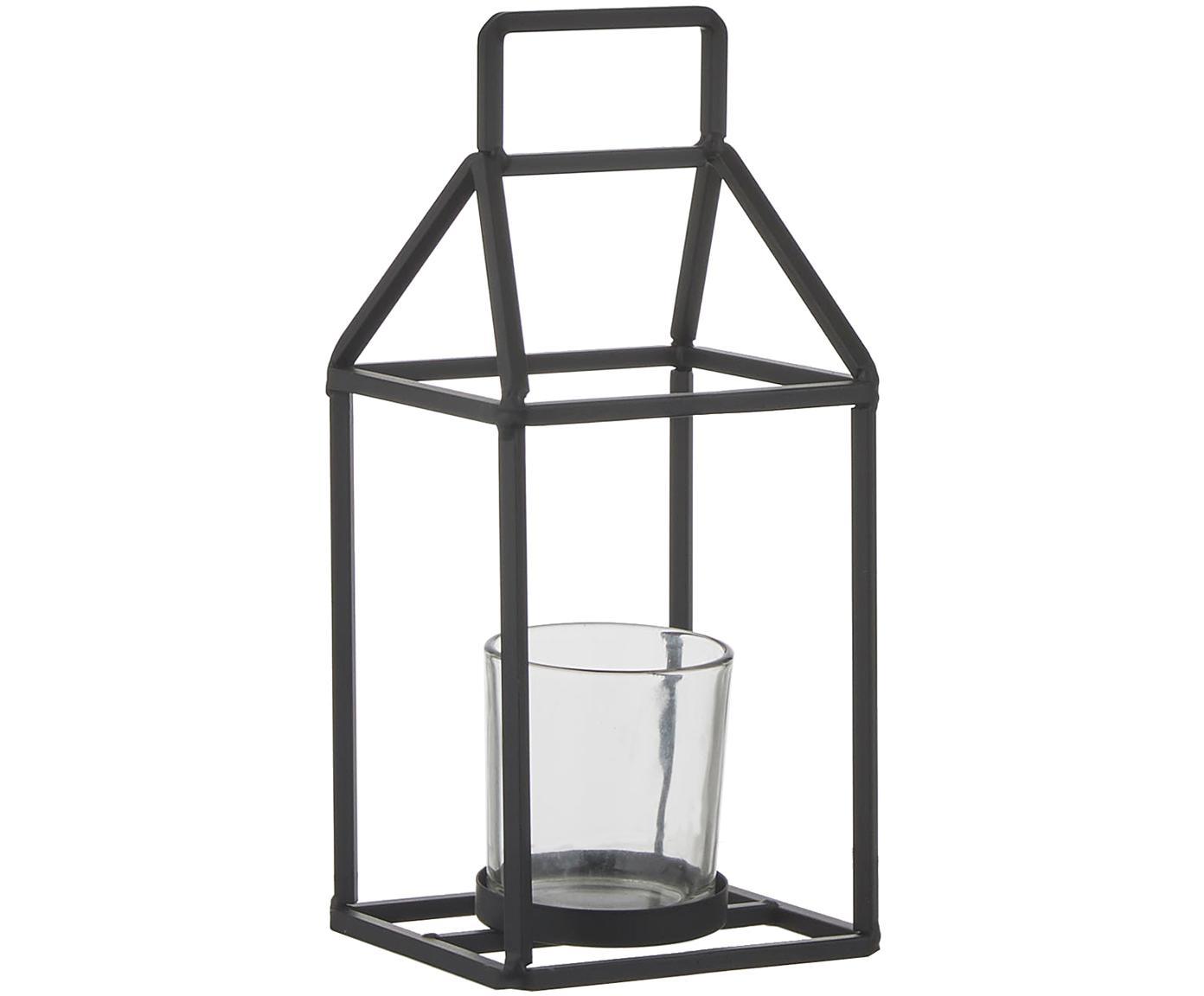 Świecznik Abbi, Czarny, transparentny, S 12 x W 27 cm