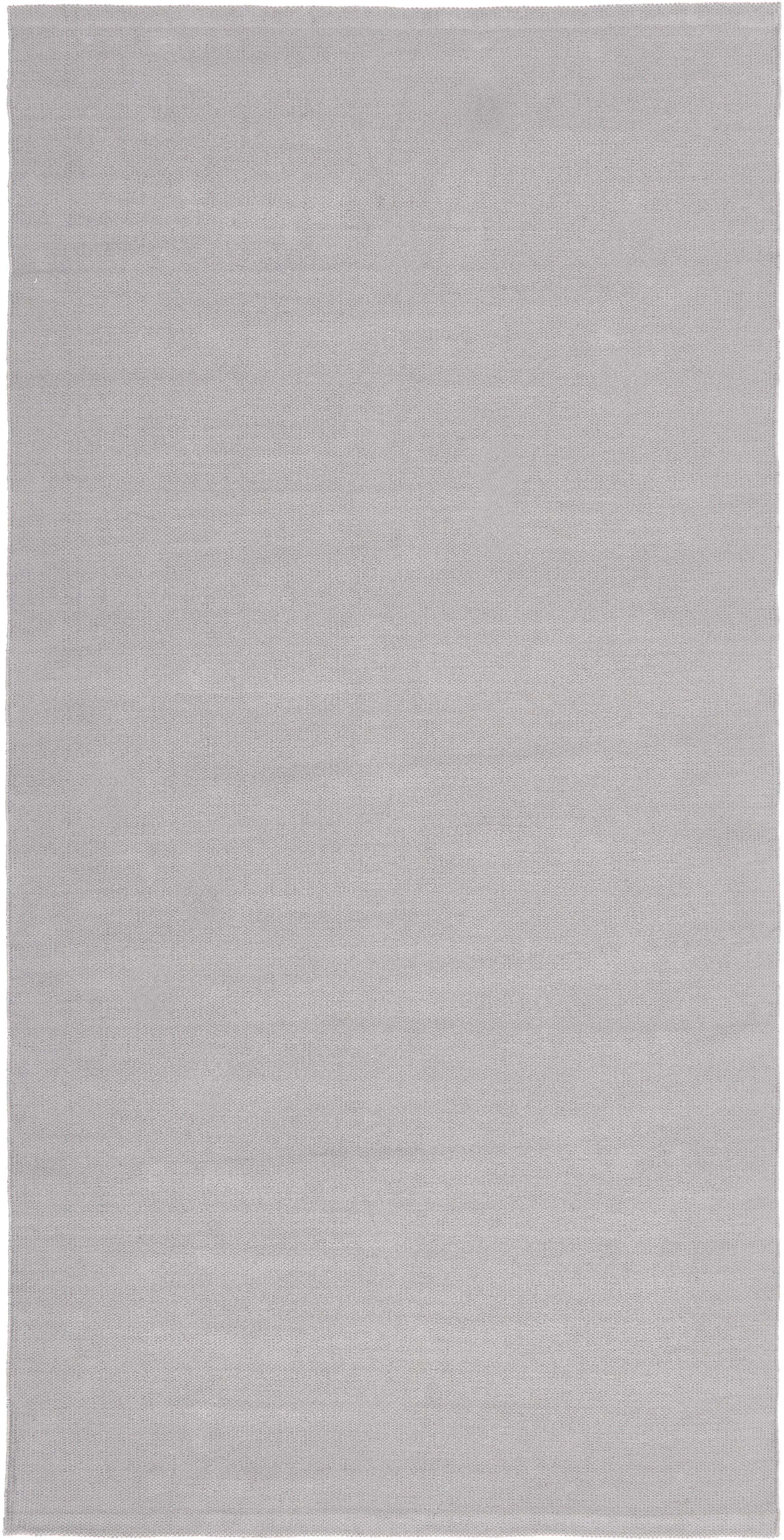 Alfombra artesanal de algodón Agneta, 100%algodón, Gris, An 70 x L 140  cm(Tamaño XS)
