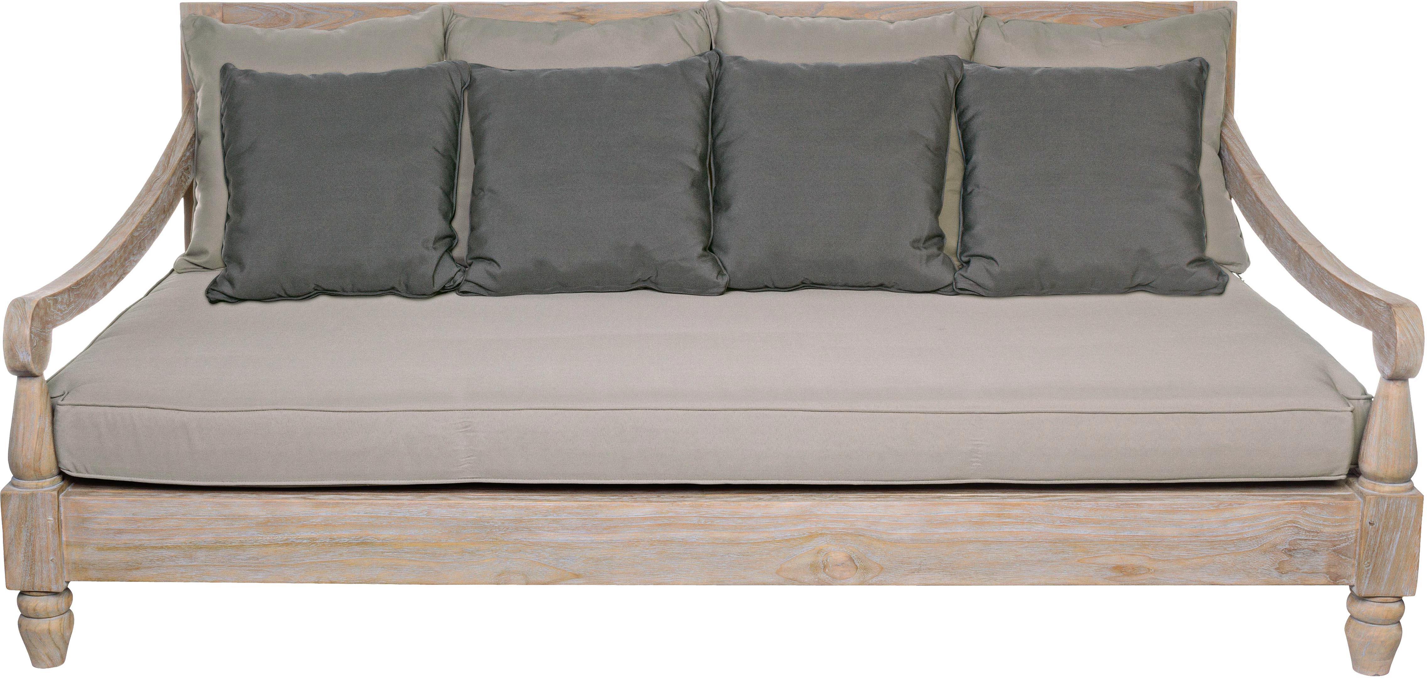 Sofa ogrodowa z drewna tekowego Bali (3-osobowa), Rama: drewno tekowe Pokrycie: szary, S 190 x G 112 cm
