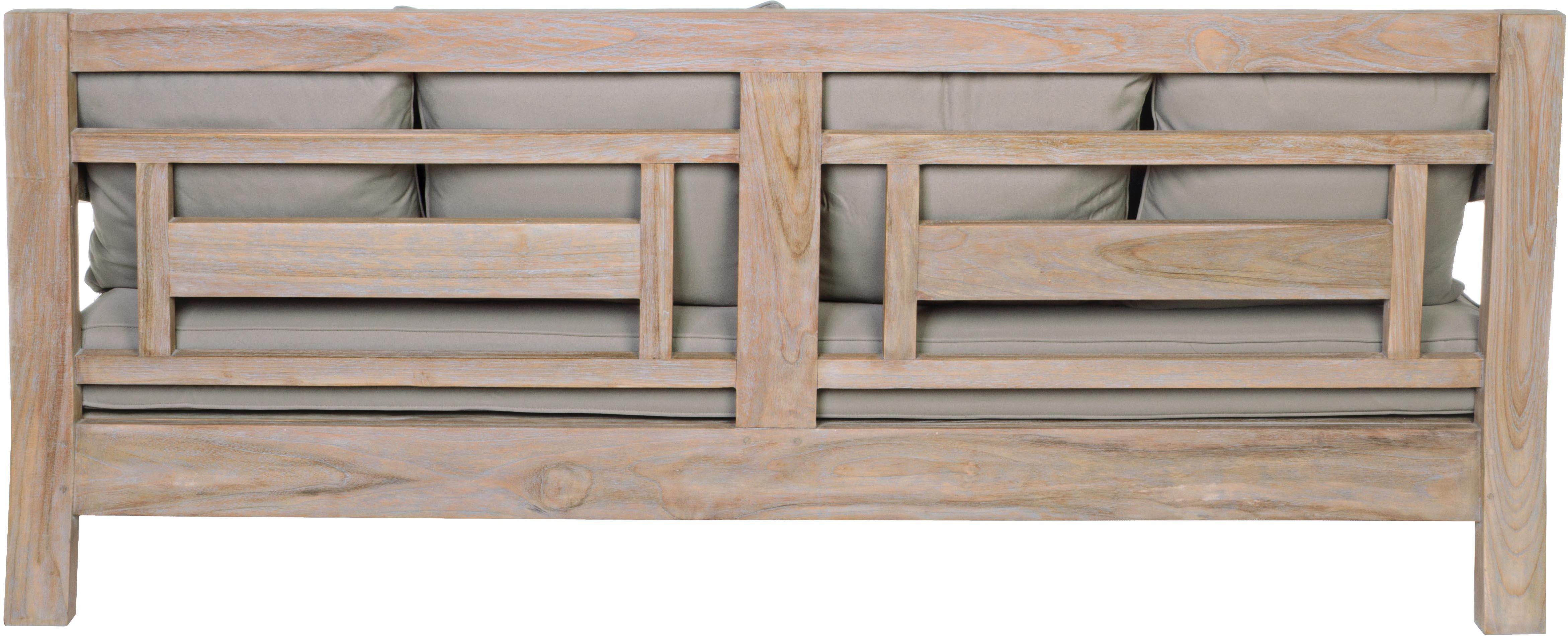 Divano da giardino 3 posti in legno di teak Bali, Struttura: legno di teak, Rivestimento: 100% poliestere, resisten, Cornice: teak Rivestimenti: grigio, Larg. 190 x Prof. 112 cm