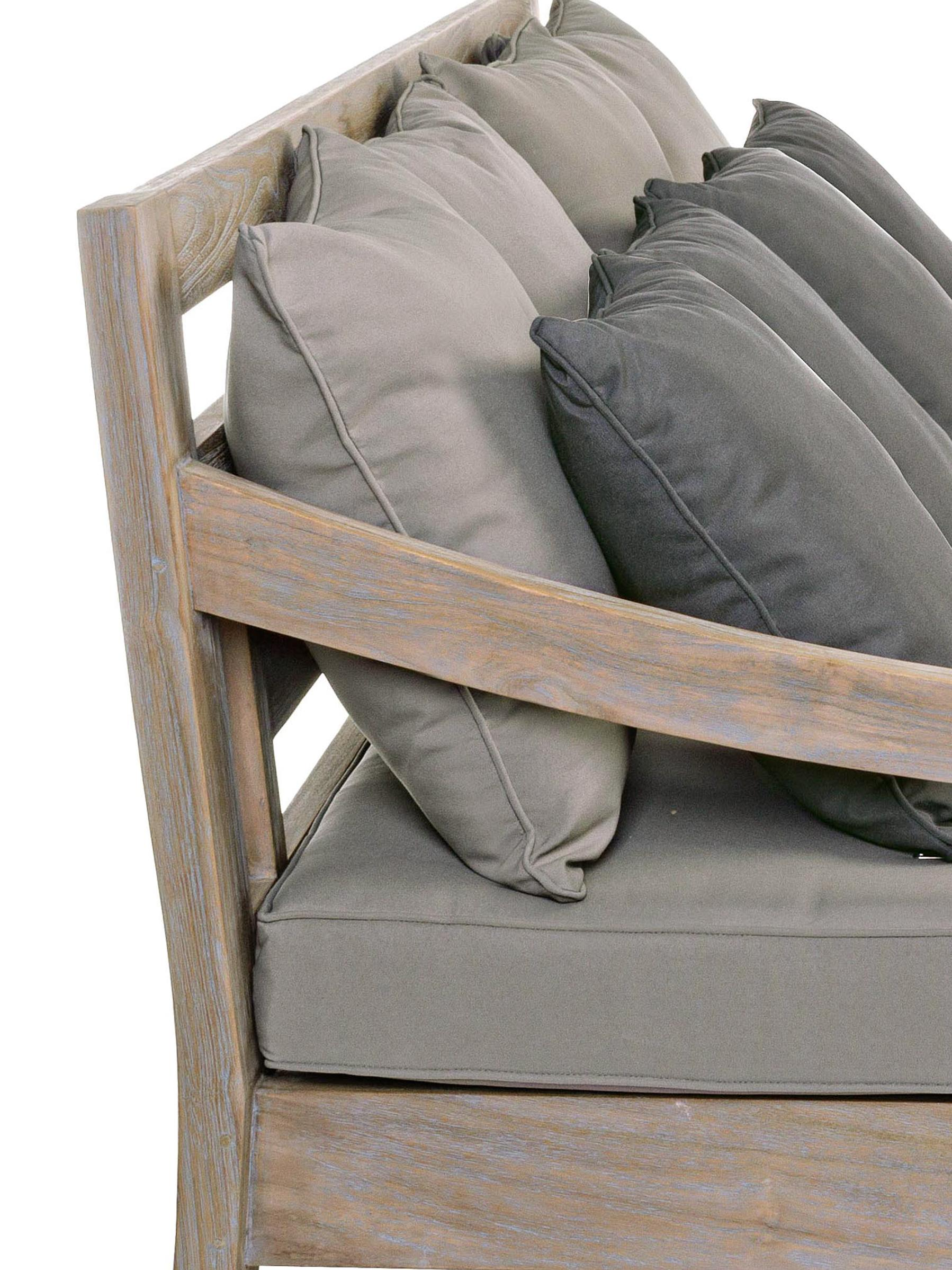 Outdoor loungebank Bali van teakhout (3-zits), Frame: teakhout, Bekleding: 100% polyester, UV- en wa, Frame: teakhoutkleurig. Bekleding: grijs, B 190 x D 112 cm