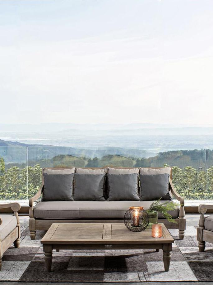 Garten-Loungesofa Bali aus Teakholz (3-Sitzer), Rahmen: Teakholz, Rahmen: Teak<br> Bezüge: Grau, B 190 x T 112 cm