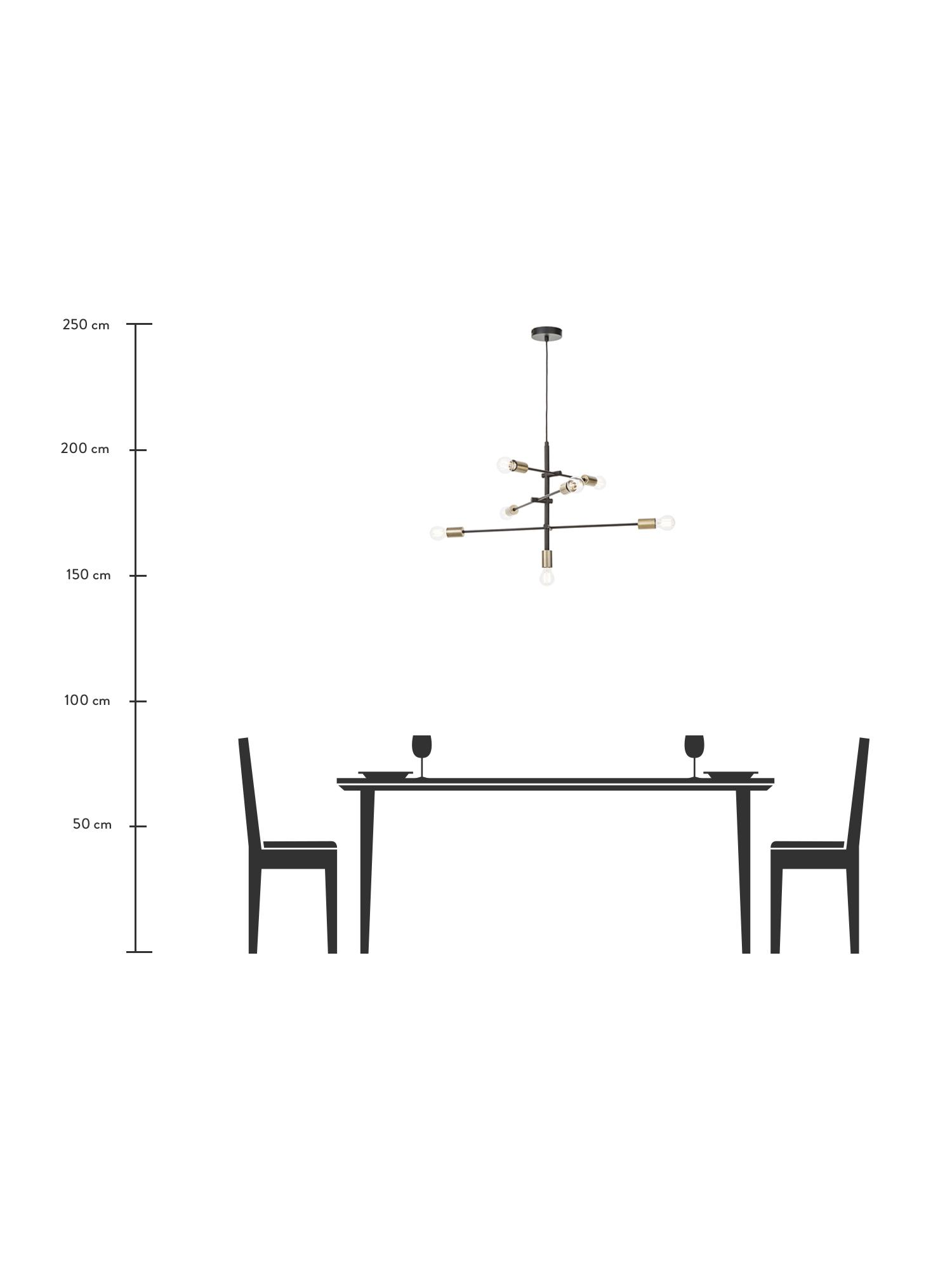Große Pendelleuchte Visby in Schwarz, Baldachin: Metall, pulverbeschichtet, Schwarz, 84 x 49 cm