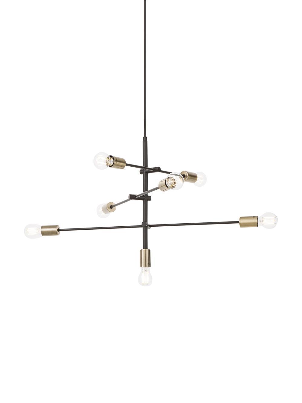 Lámpara de techo Visby, Anclaje: metal con pintura en polv, Barra: metal con pintura en polv, Cable: tela, Negro, Ø 84 cm