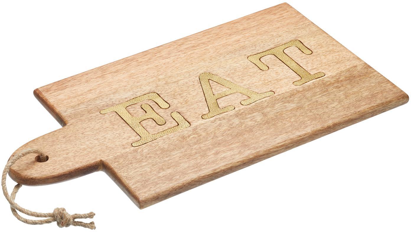 Tabla de cortar de madera Artesa, Madera de mango, Madera de mango, dorado, An 38 cm x F 22 cm