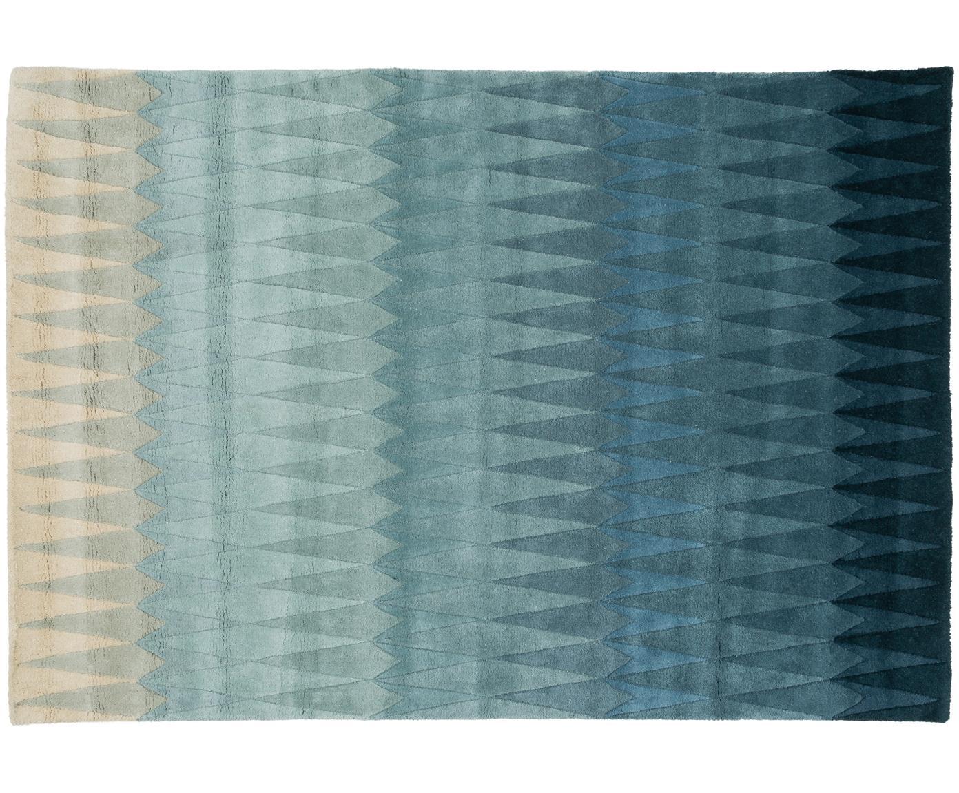 Handgetuft design vloerkleed Acacia met kleurverloop in blauw van wol, Bovenzijde: wol, Onderzijde: katoen, Blauwtinten, beigetinten, 140 x 200 cm