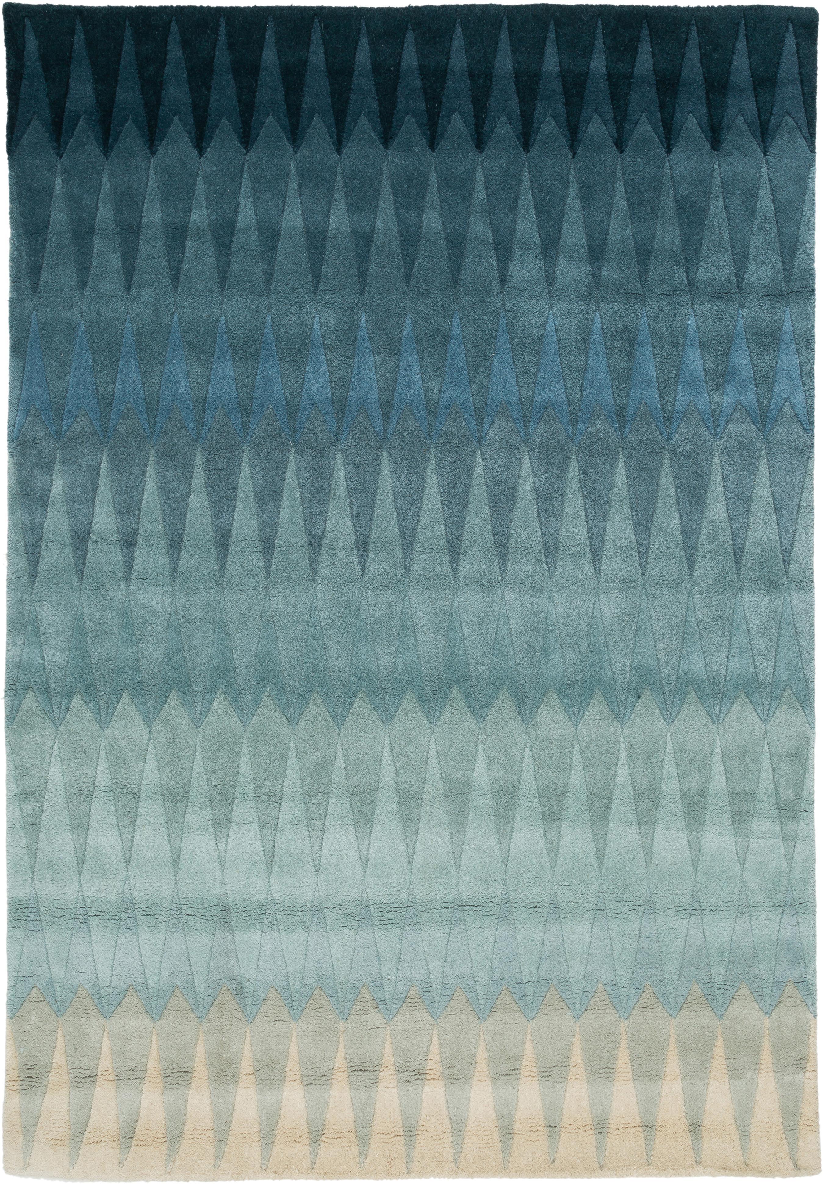 Handgetufteter Designteppich Acacia mit Farbverlauf in Blau, Flor: 100% Wolle, Blautöne, Beigetöne, B 140 x L 200 cm (Größe S)