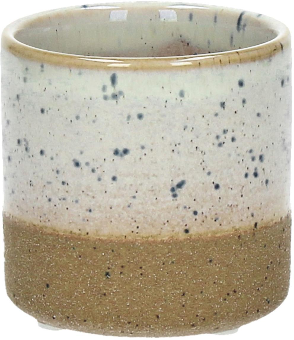 Kleiner Übertopf Suna aus Sandstein, Sandstein, Braun, Weiß, Grau, Ø 8 x H 7 cm