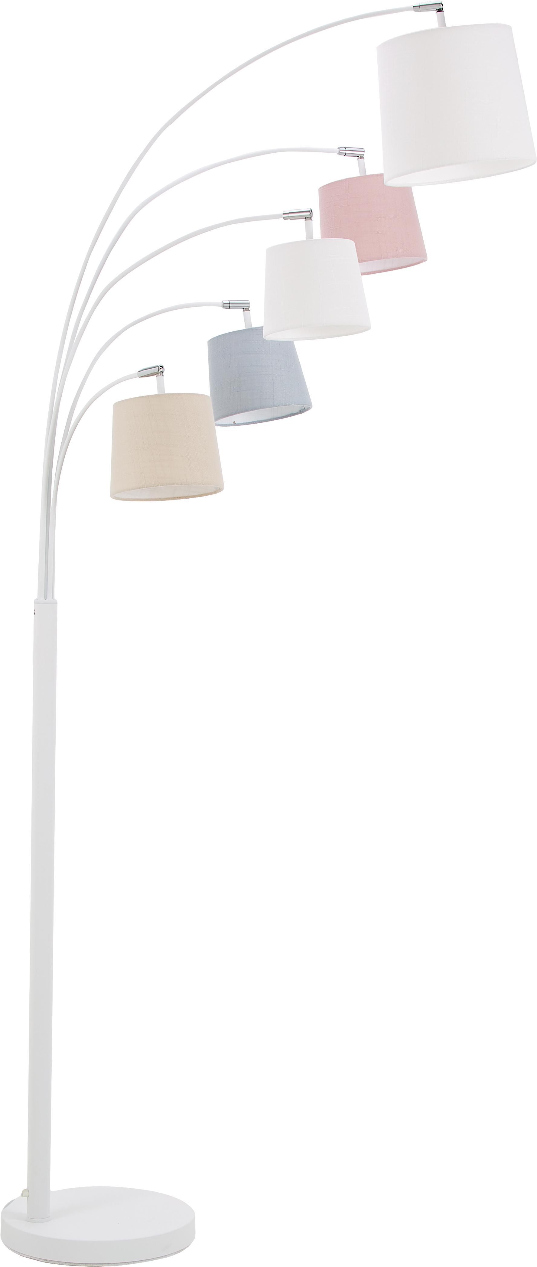 Vloerlamp Foggy, Lampenkap: polyester, katoen, Lampvoet: gelakt metaal, Wit, grijs, roze, 80 x 200 cm