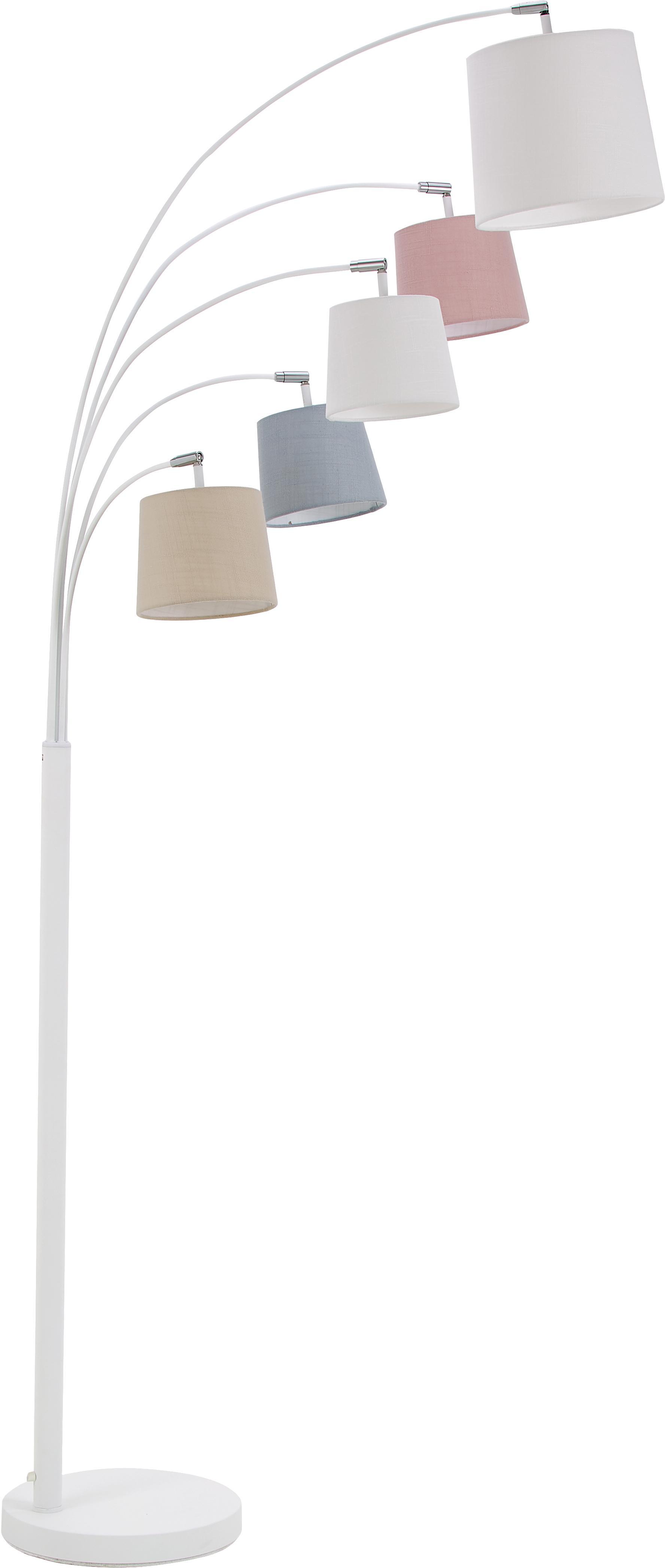 Scandi booglamp Foggy met stoffen kappen, Lampenkap: polyester, katoen, Lampvoet: gelakt metaal, Wit, grijs, roze, 80 x 200 cm