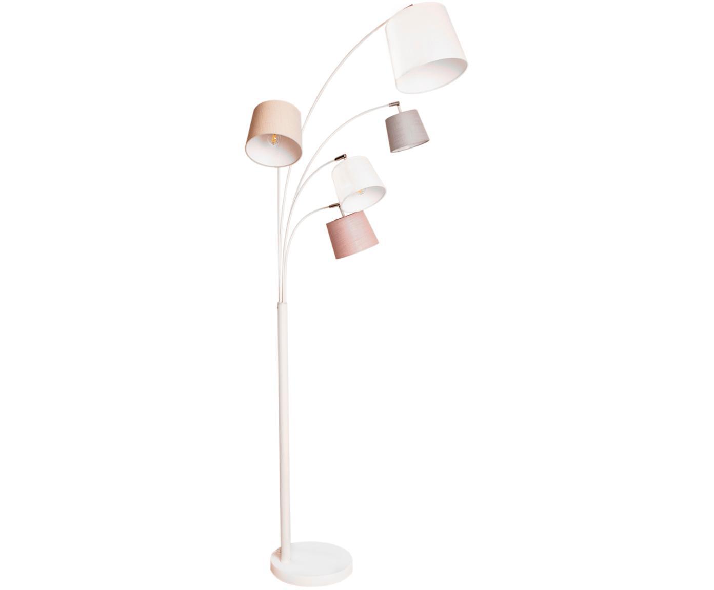 Stehlampe Foggy, Lampenschirm: Polyester, Baumwolle, Lampenfuß: Metall, lackiert, Weiß, Grau, Rosa, 80 x 200 cm