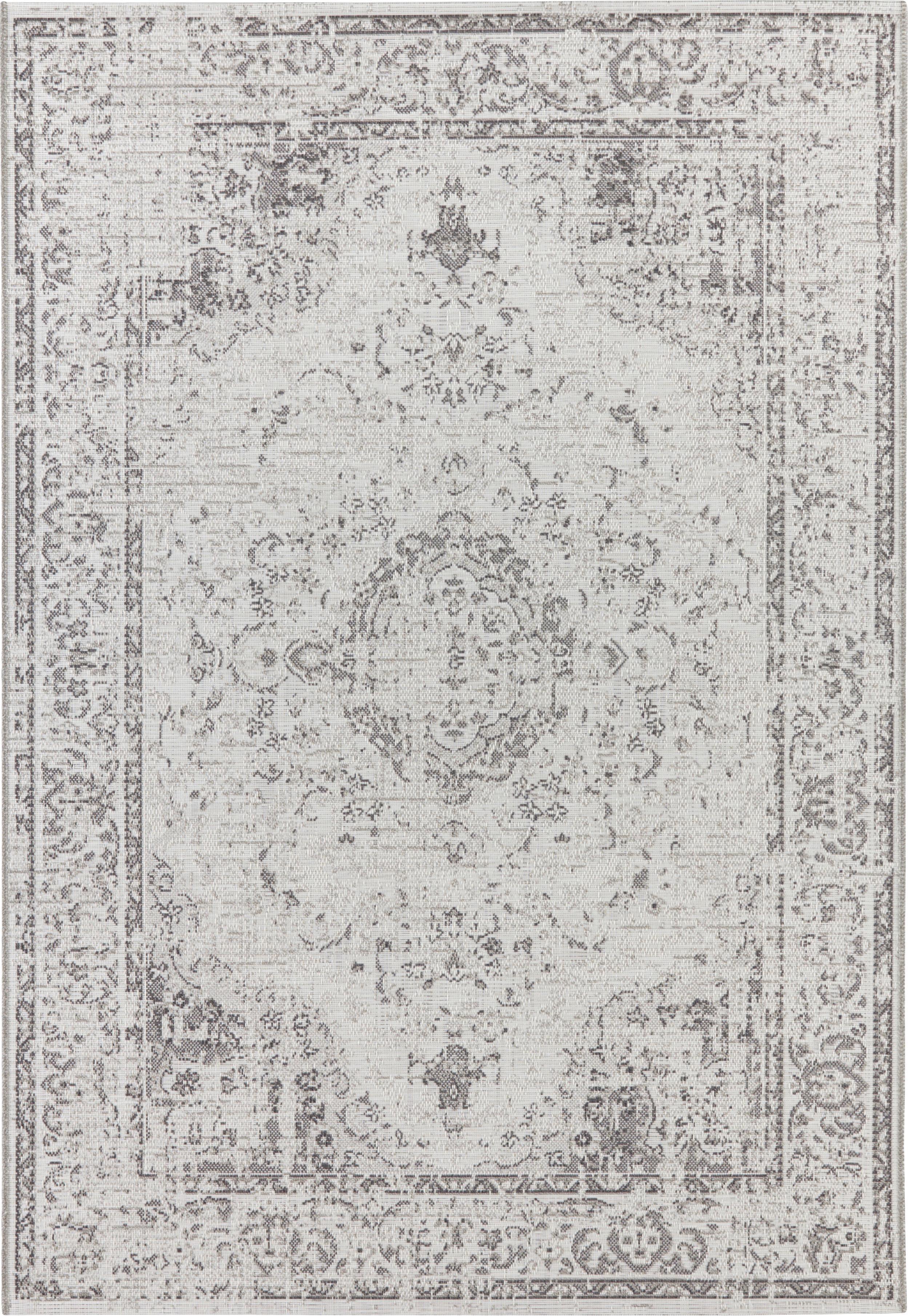 In- und Outdoor Teppich Cenon im Vintage Style, 100% Polypropylen, Creme, Grau, B 115 x L 170 cm (Größe S)