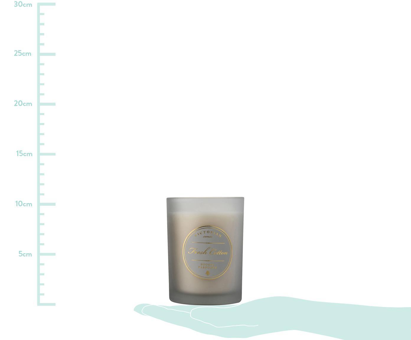 Duftkerze Sense (Frische Baumwolle), Behälter: Glas, Behälter: Grau<br>Wachs: Weiß, Ø 9 x H 11 cm