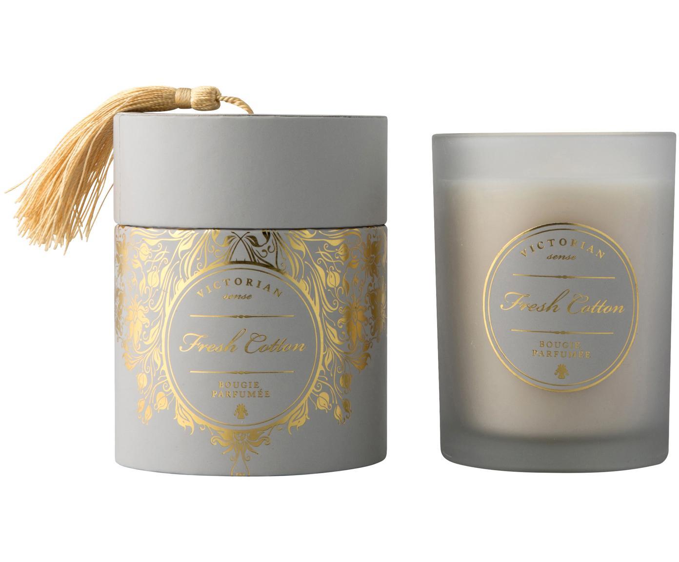 Vela perfumada Sense (algodón fresco), Recipiente: vidrio, Recipiente:gris Cera: blanco, Ø 9 x Al 11 cm
