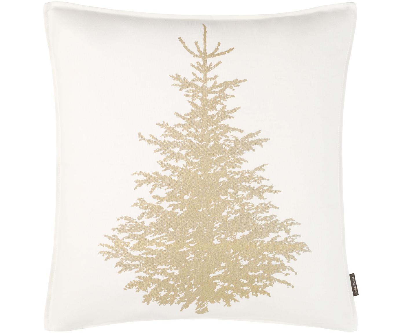 Kissenhülle Norton mit goldenem Tannenbaum, Baumwolle, Weiß, Goldfarben, 50 x 50 cm