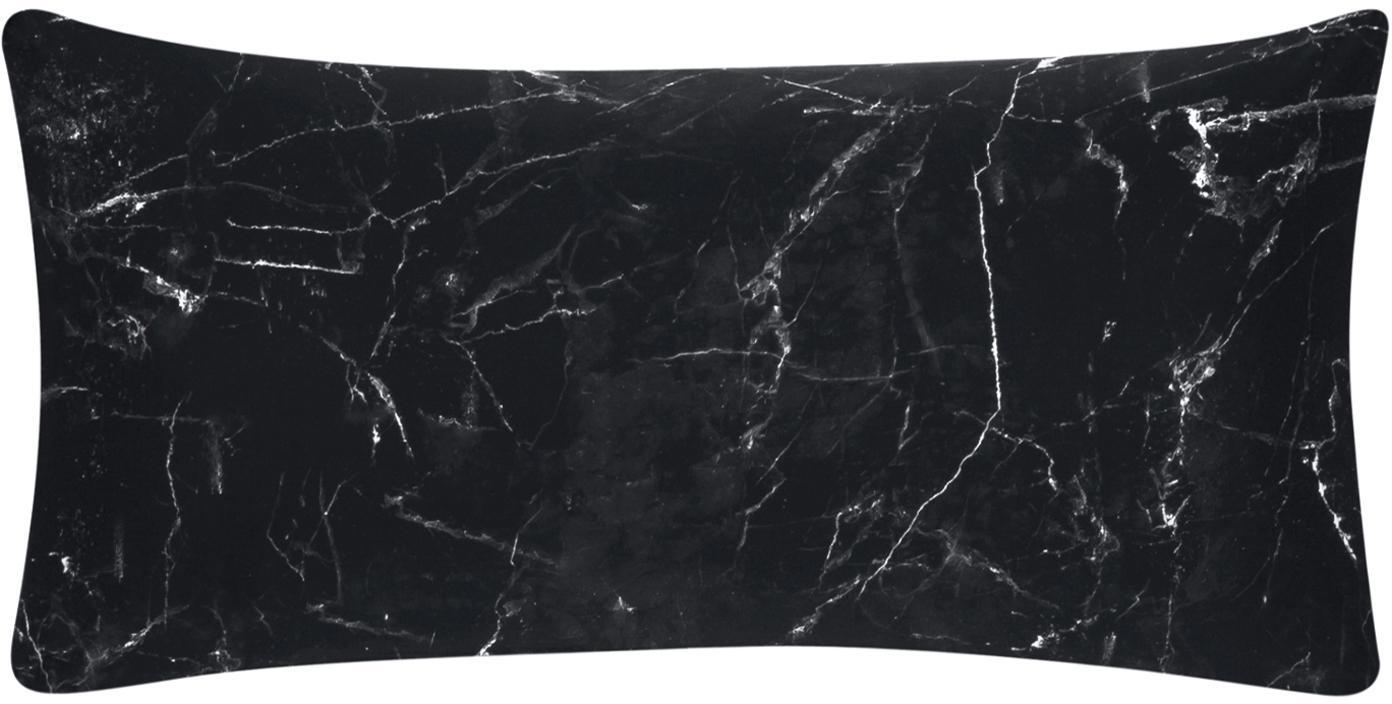 Baumwollperkal-Kissenbezüge Malin mit Marmor-Muster, 2 Stück, Webart: Perkal Fadendichte 200 TC, Schwarz, 40 x 80 cm