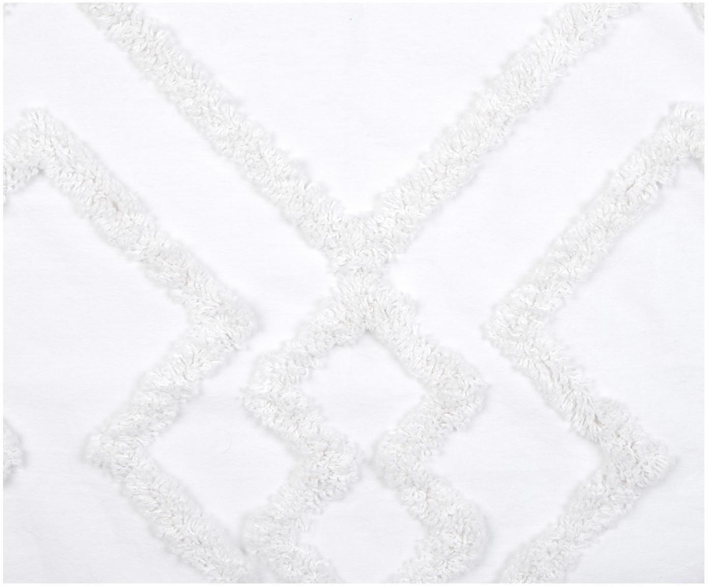 Kussenhoes Faith met getuft ruitjesmotief, 100% katoen, Wit, 50 x 50 cm