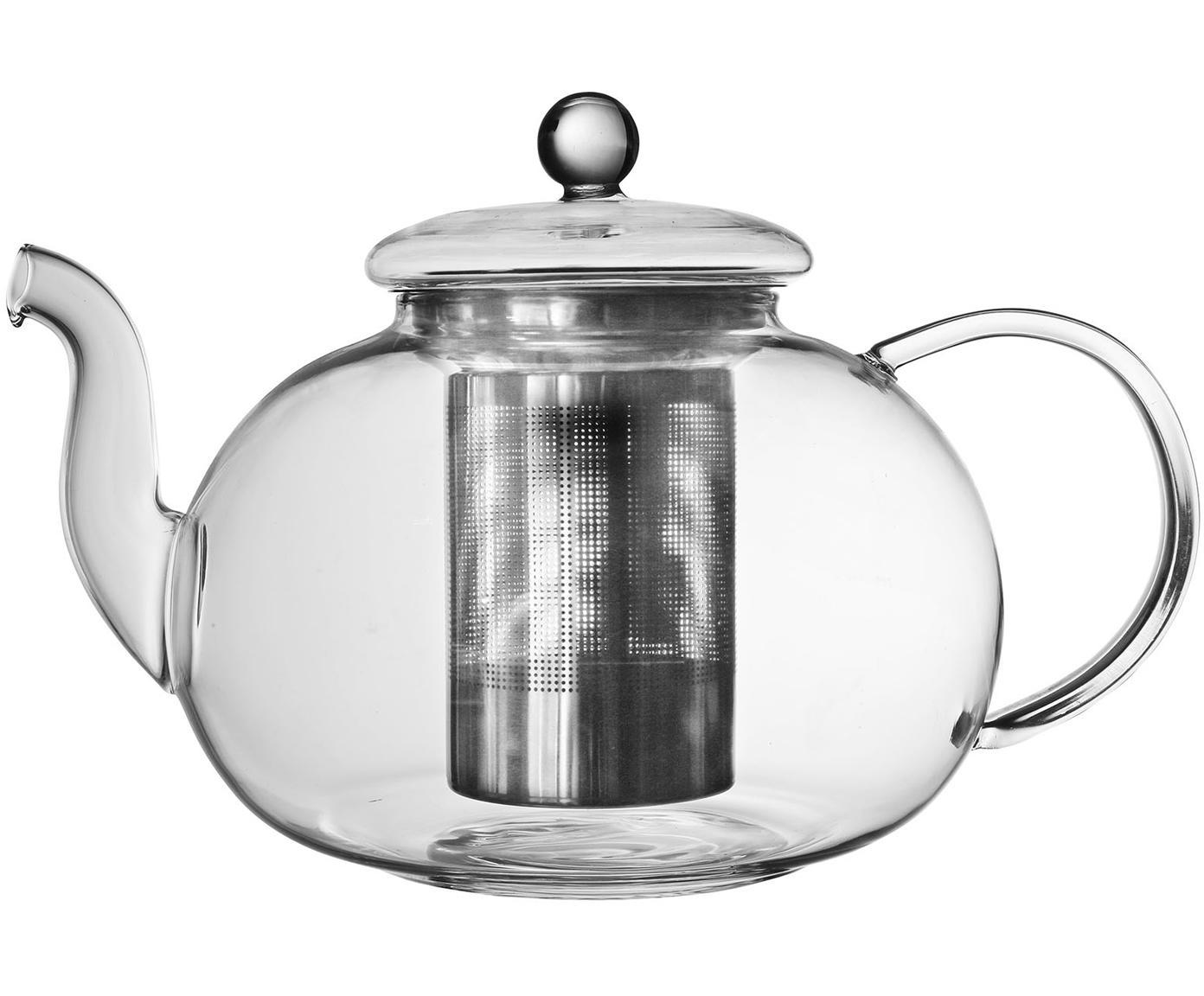 Teekanne Argyle mit Teesieb und Deckel, Kanne: Glas, Sieb: Edelstahl, Transparent, Silberfarben, 23 x 15 cm