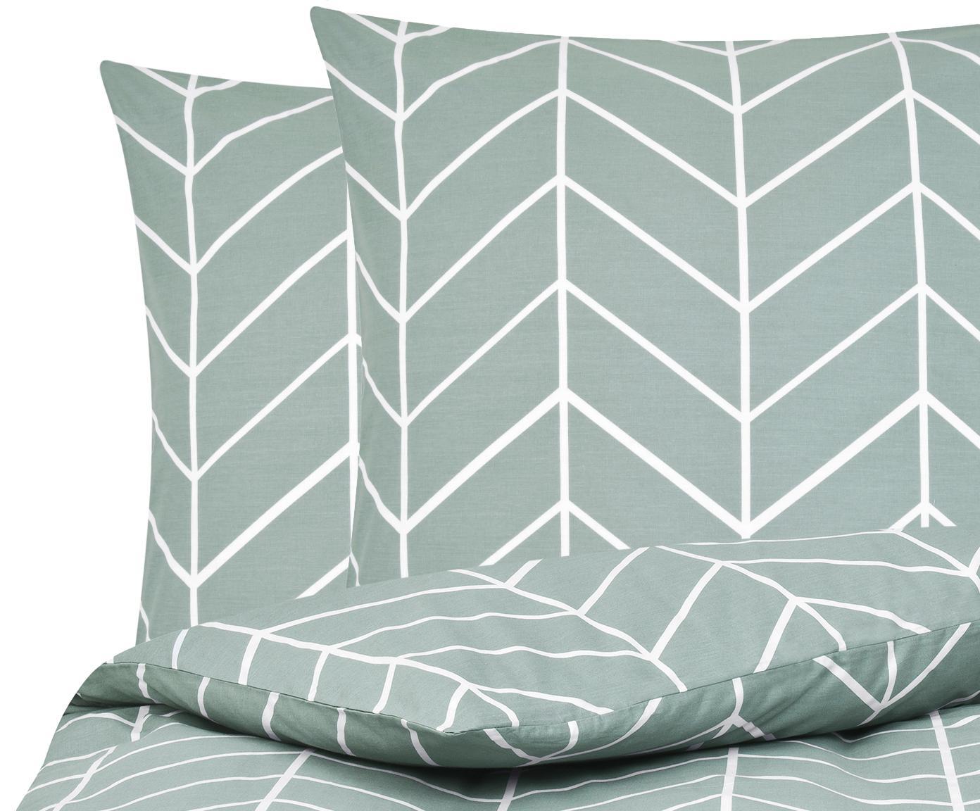 Baumwoll-Bettwäsche Mirja mit grafischem Muster, Webart: Renforcé Fadendichte 144 , Grün, Cremeweiß, 200 x 200 cm + 2 Kissen 80 x 80 cm