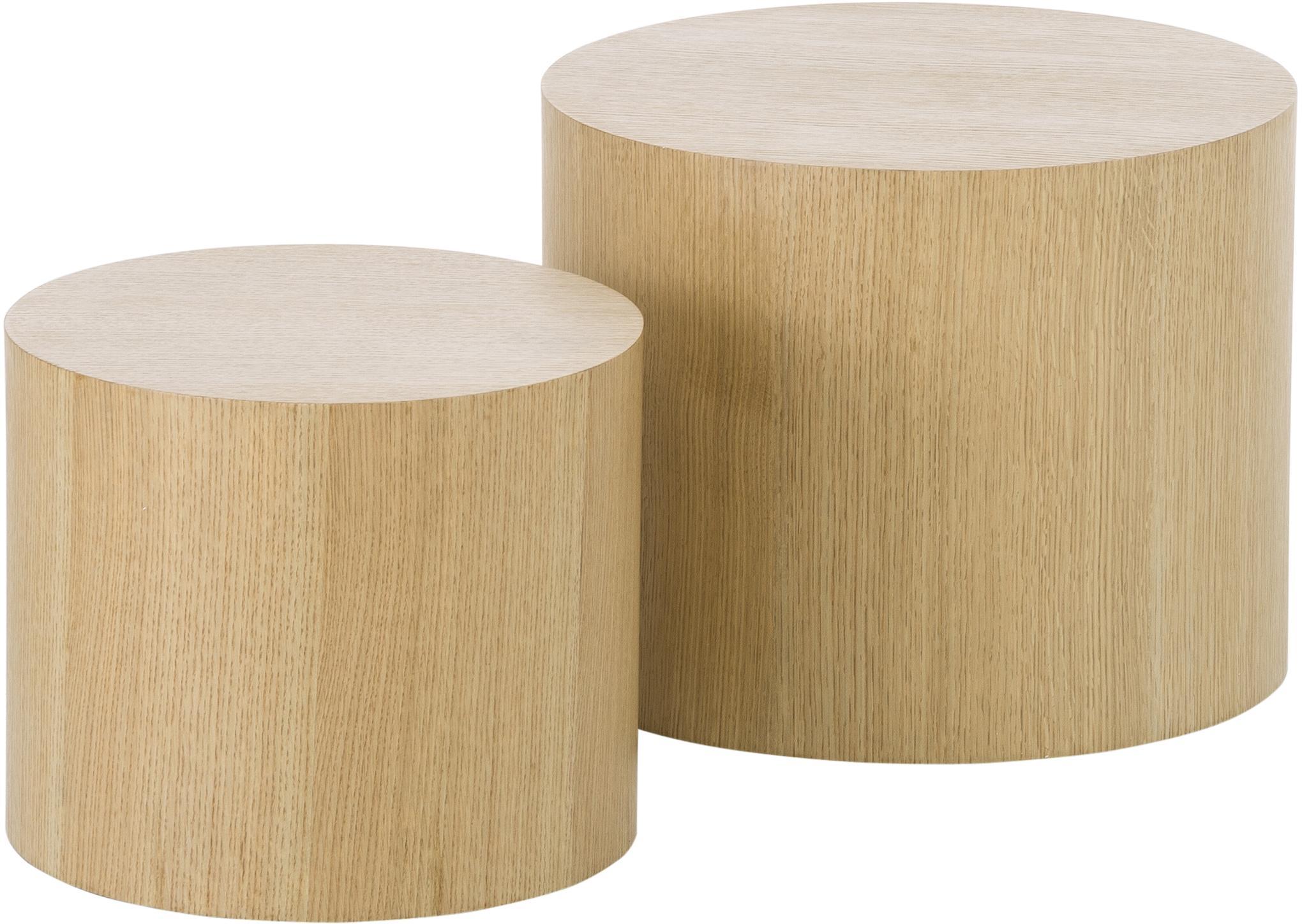 Set 2  tavolini in legno Dan, Pannello di fibra a media densità (MDF) con impiallacciatura in rovere, Marrone chiaro, Set in varie misure