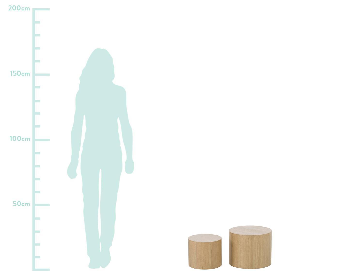 Set 2  tavolini in legno Dan, Pannello di fibra a media densità (MDF) con impiallacciatura in rovere, Marrone chiaro, Diverse dimensioni