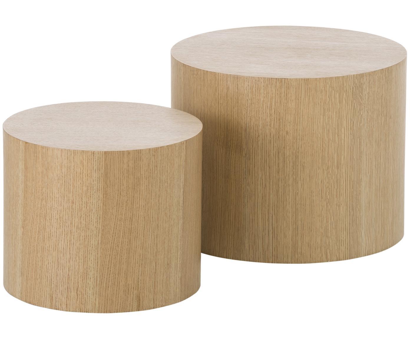 Bijzettafelset Dan van hout, 2-delig, MDF met eikenhoutfineer, Lichtbruin, Verschillende formaten